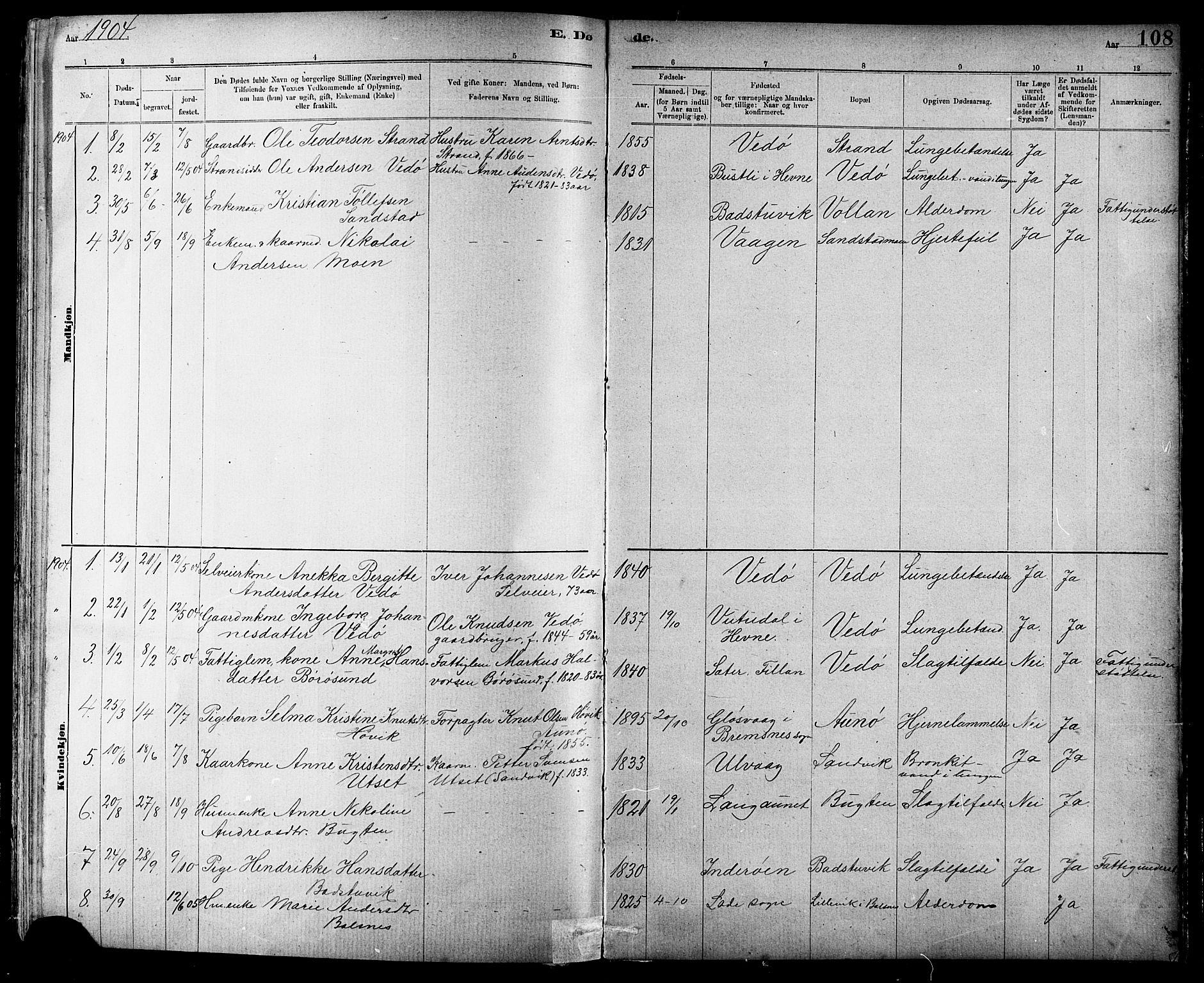 SAT, Ministerialprotokoller, klokkerbøker og fødselsregistre - Sør-Trøndelag, 639/L0573: Klokkerbok nr. 639C01, 1890-1905, s. 108