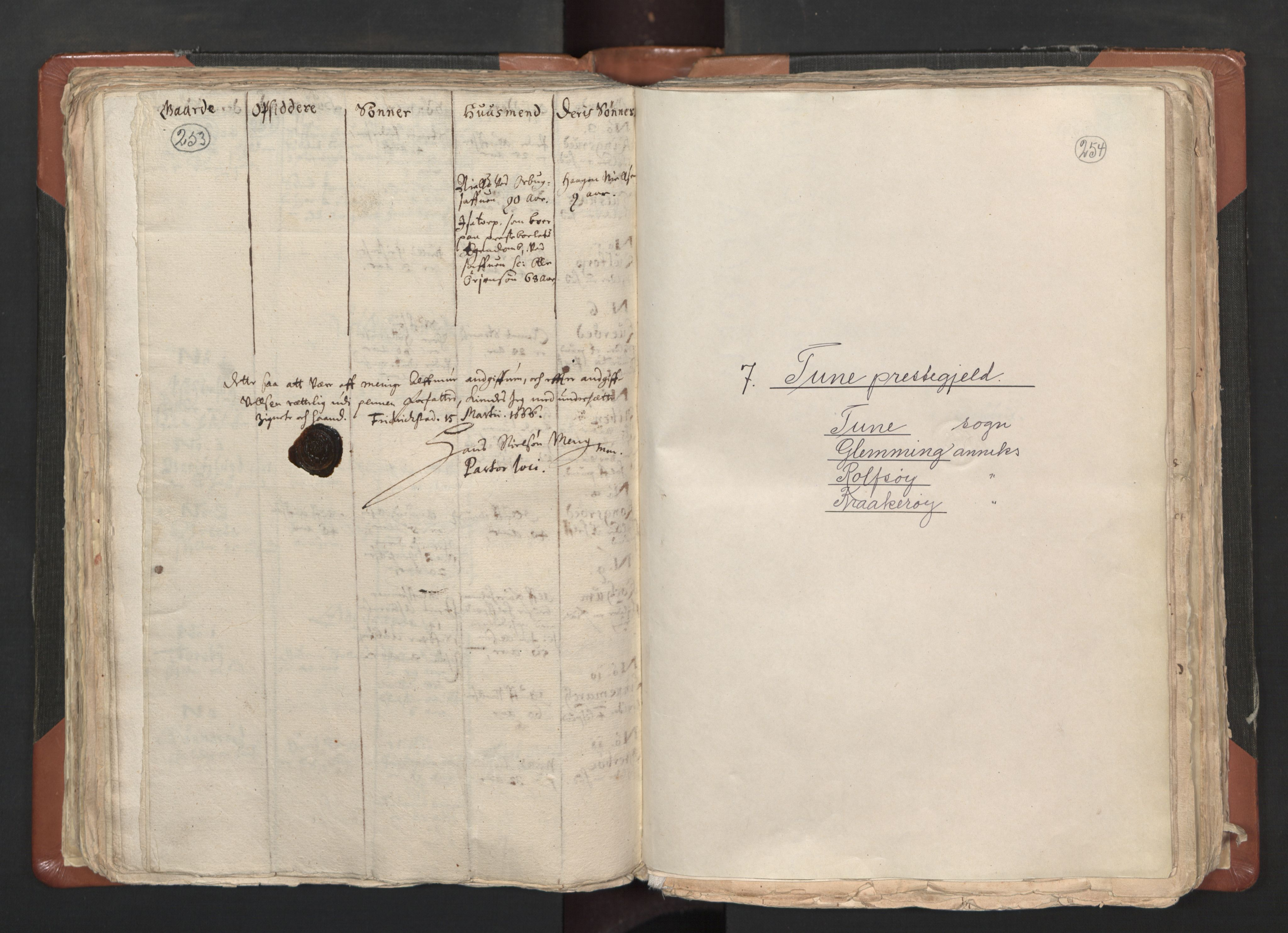 RA, Sogneprestenes manntall 1664-1666, nr. 1: Nedre Borgesyssel prosti, 1664-1666, s. 253-254