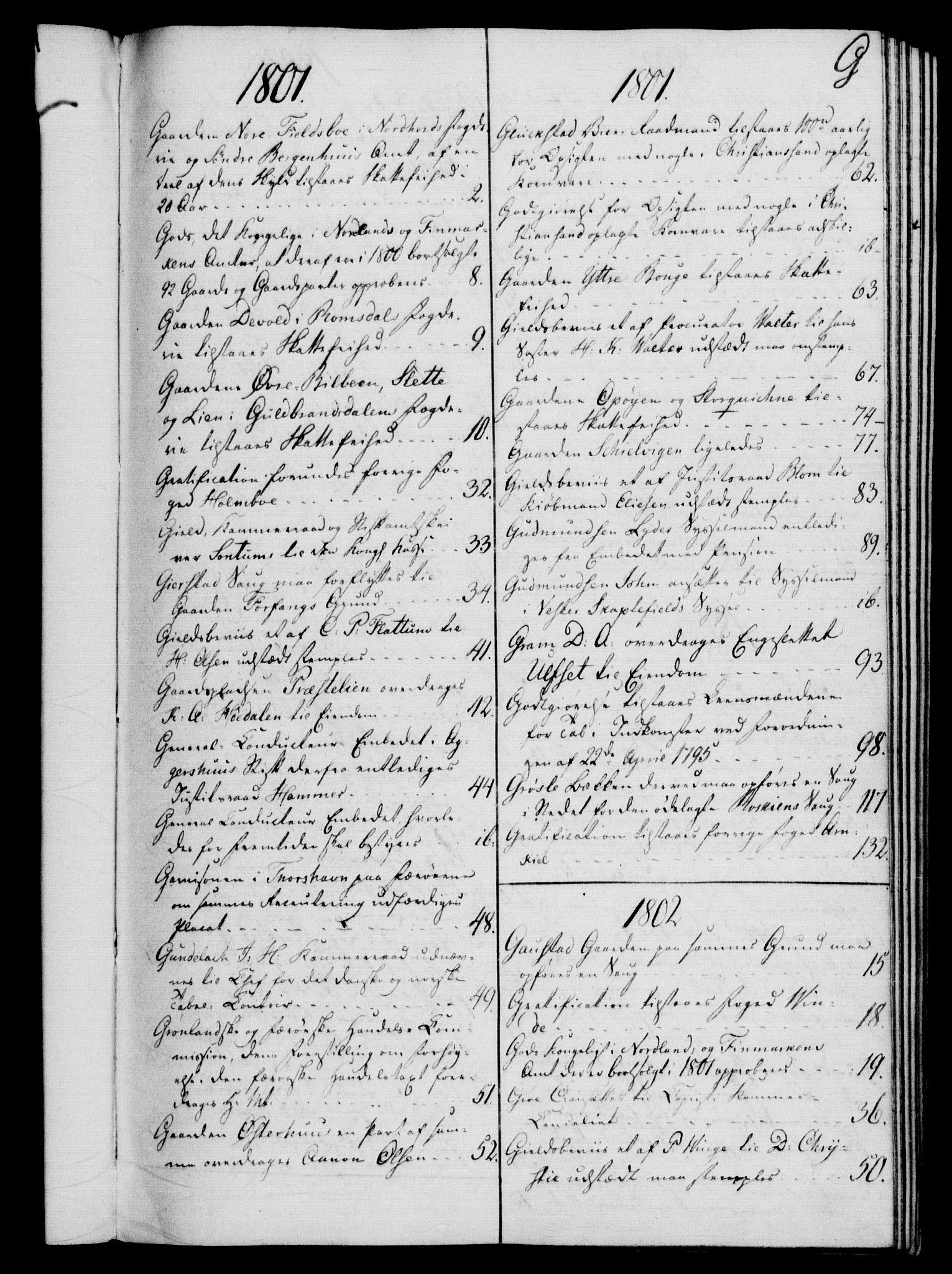 RA, Rentekammeret, Kammerkanselliet, G/Gf/Gfb/L0016: Register til norske relasjons- og resolusjonsprotokoller (merket RK 52.111), 1801-1814, s. 69