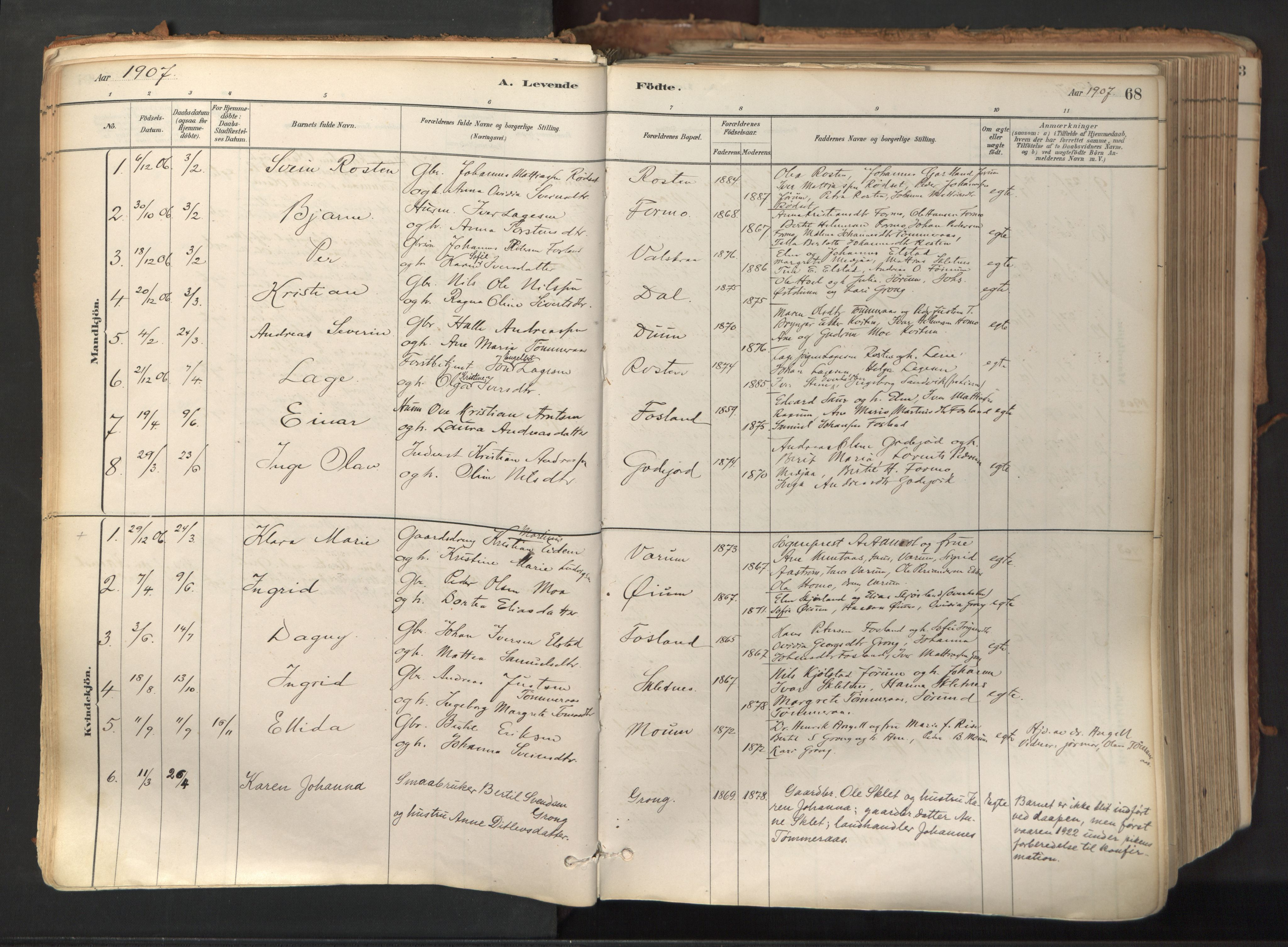 SAT, Ministerialprotokoller, klokkerbøker og fødselsregistre - Nord-Trøndelag, 758/L0519: Ministerialbok nr. 758A04, 1880-1926, s. 68