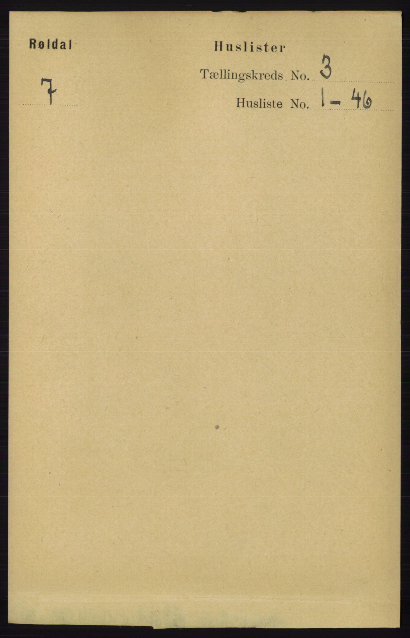 RA, Folketelling 1891 for 1229 Røldal herred, 1891, s. 851