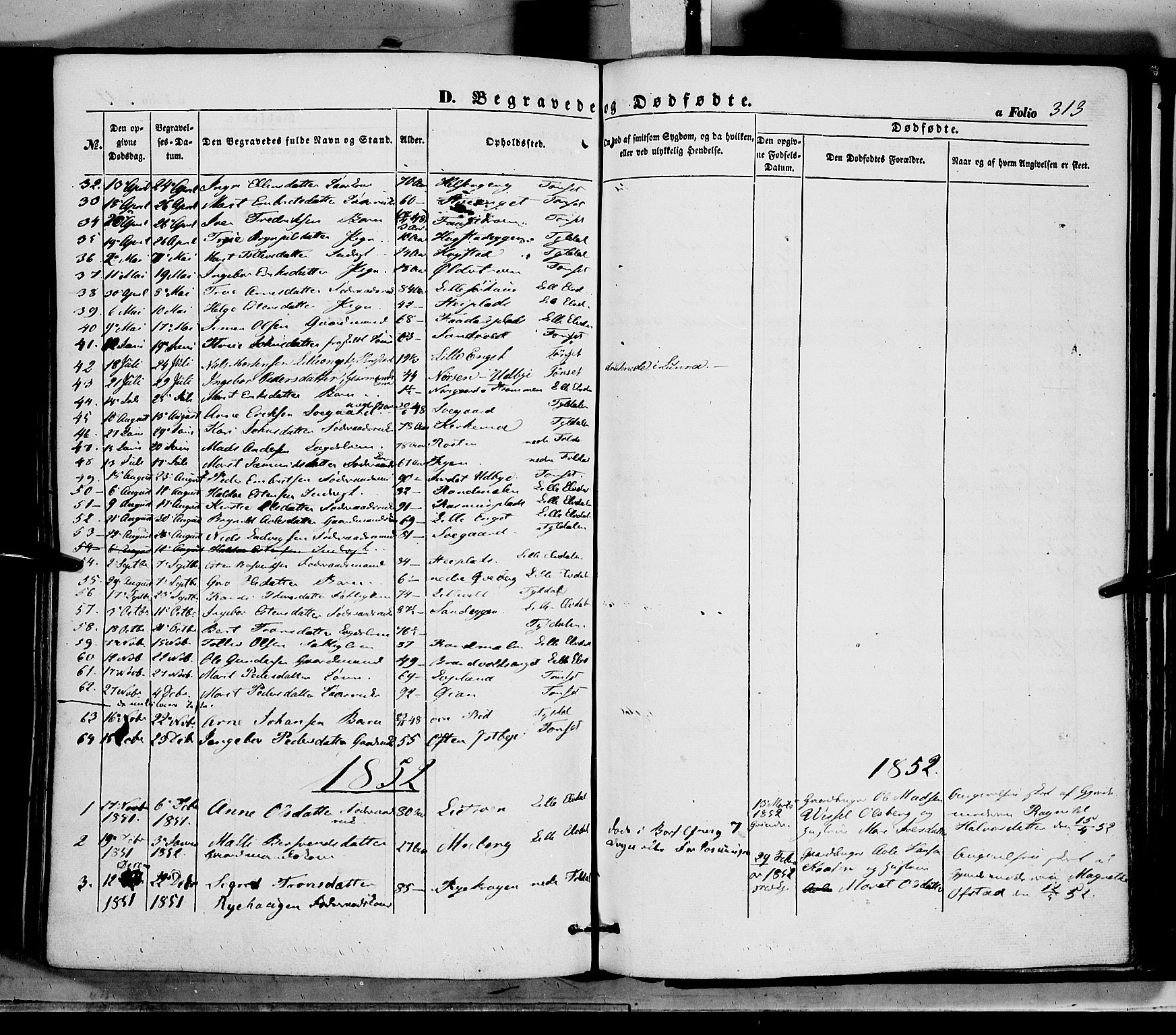 SAH, Tynset prestekontor, Ministerialbok nr. 20, 1848-1862, s. 313