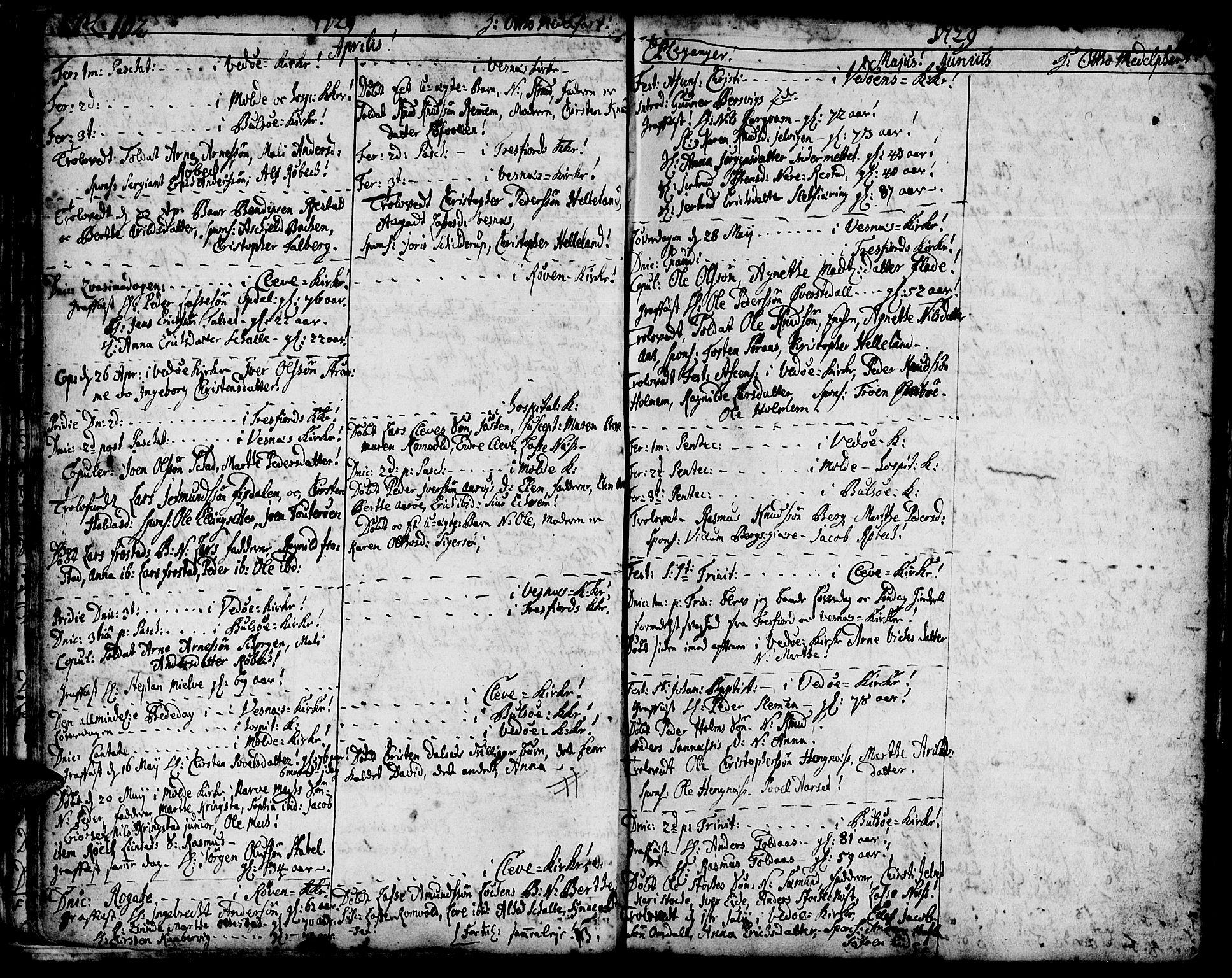 SAT, Ministerialprotokoller, klokkerbøker og fødselsregistre - Møre og Romsdal, 547/L0599: Ministerialbok nr. 547A01, 1721-1764, s. 104-105