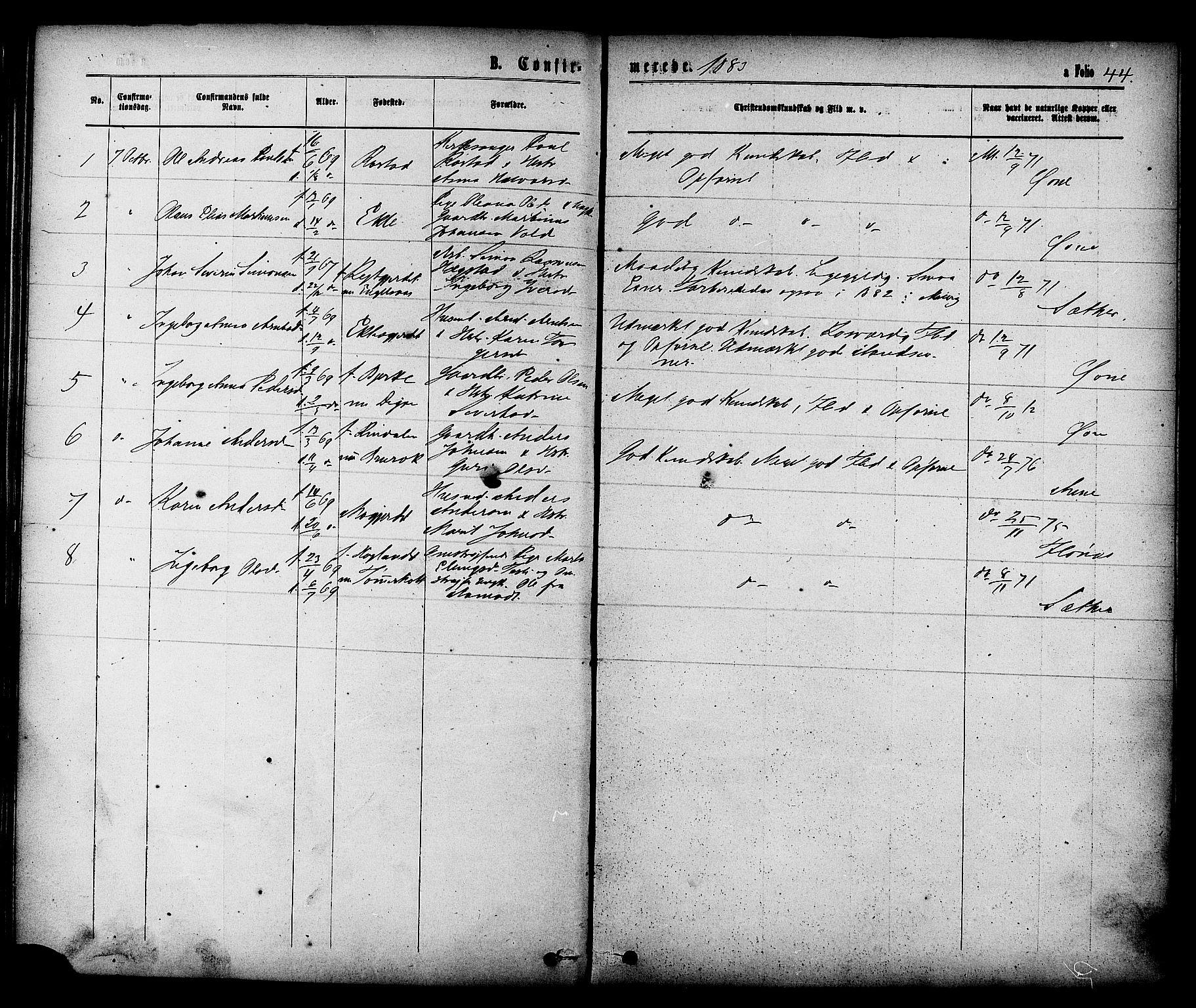 SAT, Ministerialprotokoller, klokkerbøker og fødselsregistre - Sør-Trøndelag, 608/L0334: Ministerialbok nr. 608A03, 1877-1886, s. 44