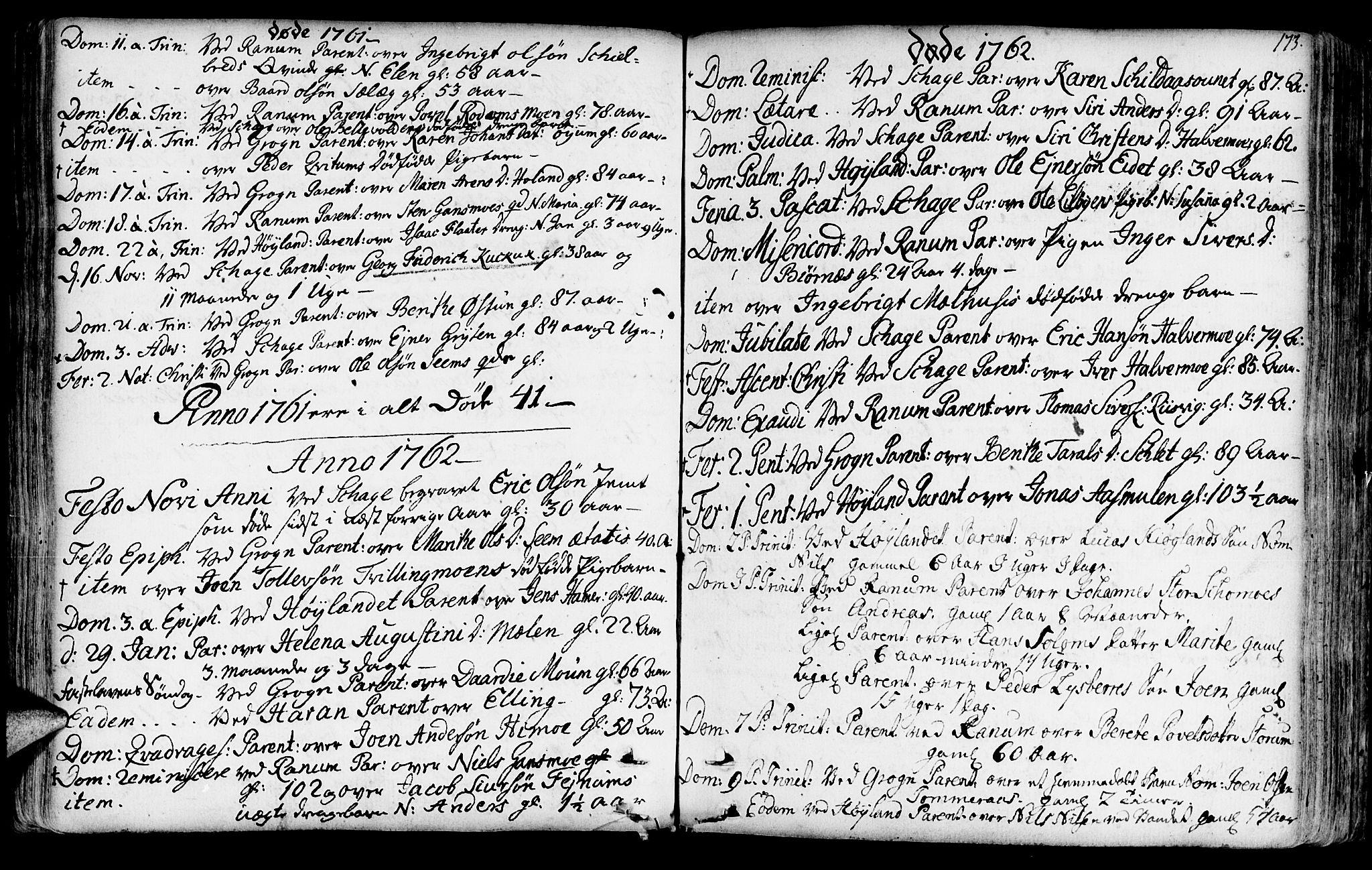 SAT, Ministerialprotokoller, klokkerbøker og fødselsregistre - Nord-Trøndelag, 764/L0542: Ministerialbok nr. 764A02, 1748-1779, s. 173