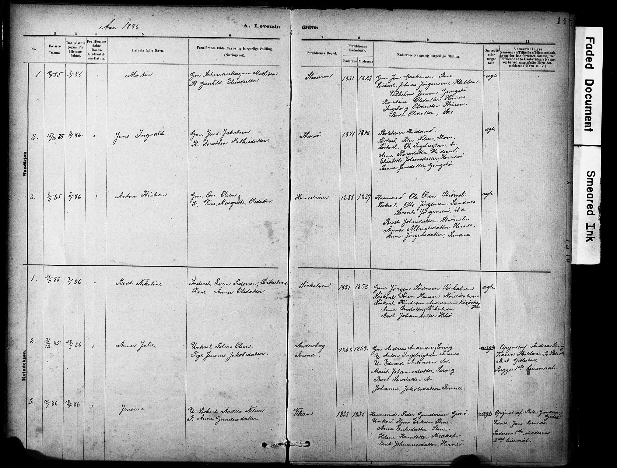 SAT, Ministerialprotokoller, klokkerbøker og fødselsregistre - Sør-Trøndelag, 635/L0551: Ministerialbok nr. 635A01, 1882-1899, s. 14