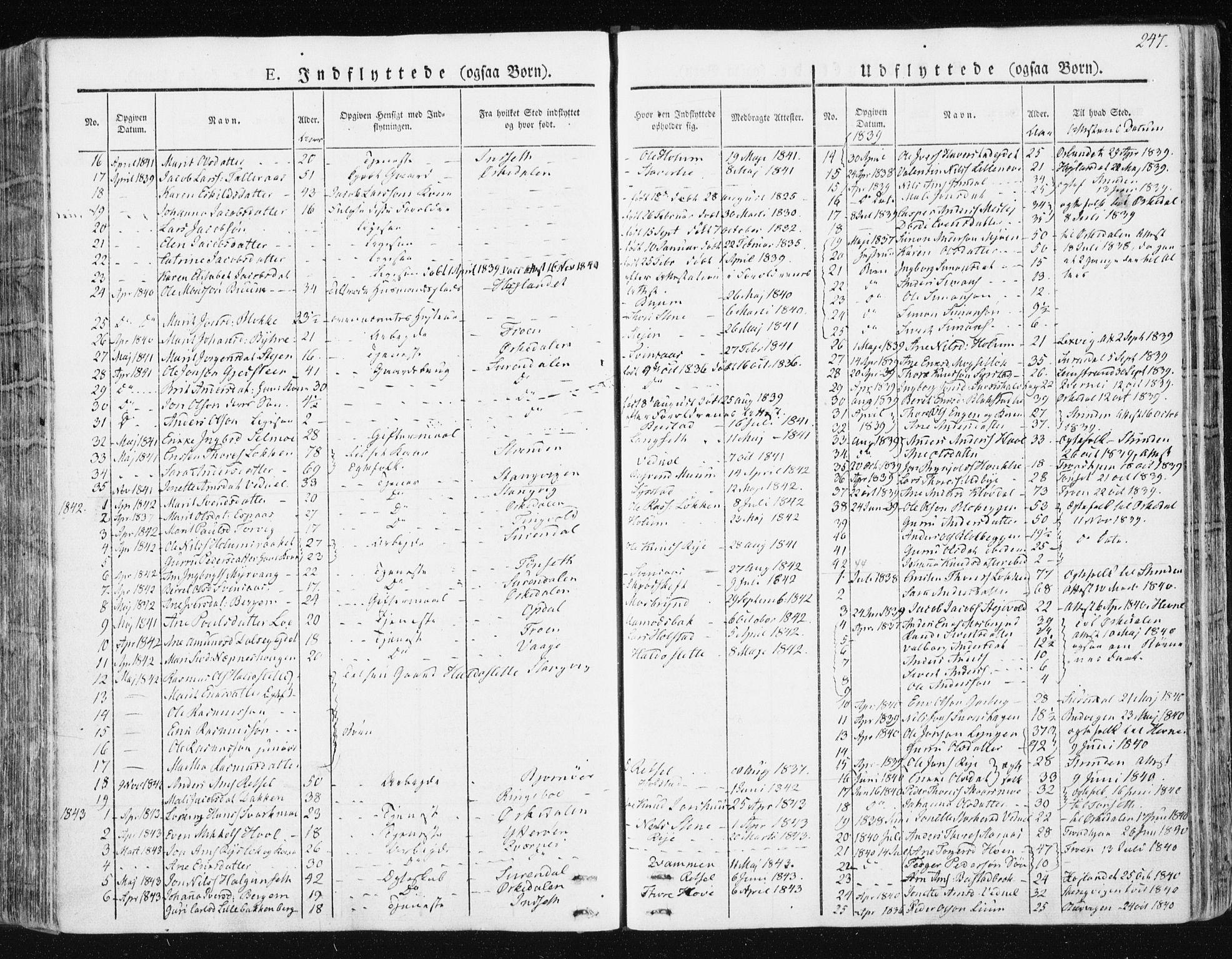 SAT, Ministerialprotokoller, klokkerbøker og fødselsregistre - Sør-Trøndelag, 672/L0855: Ministerialbok nr. 672A07, 1829-1860, s. 247