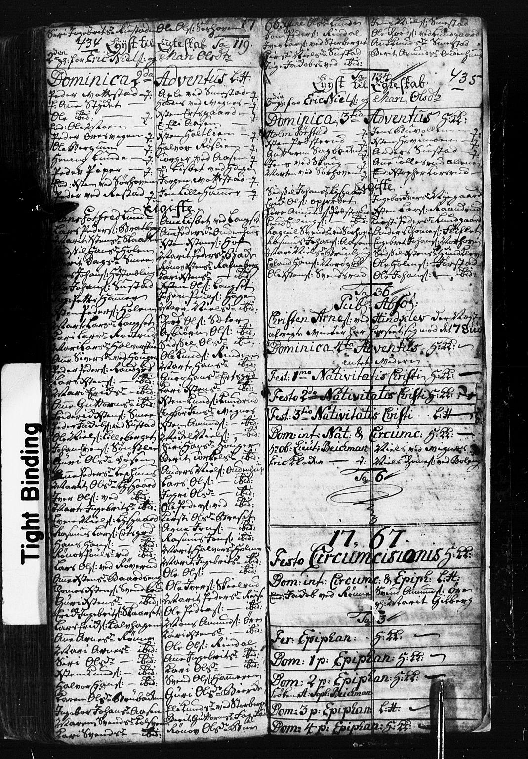 SAH, Fåberg prestekontor, Klokkerbok nr. 1, 1727-1767, s. 434-435