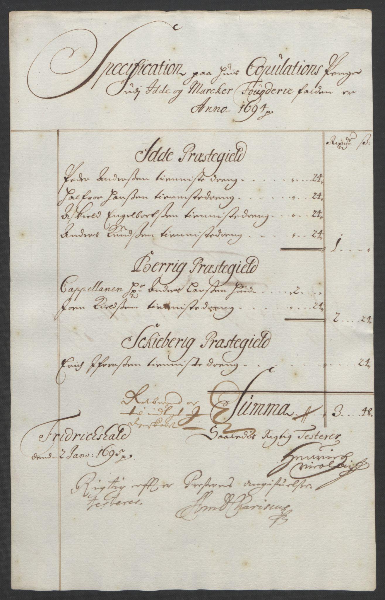 RA, Rentekammeret inntil 1814, Reviderte regnskaper, Fogderegnskap, R01/L0012: Fogderegnskap Idd og Marker, 1694-1695, s. 126
