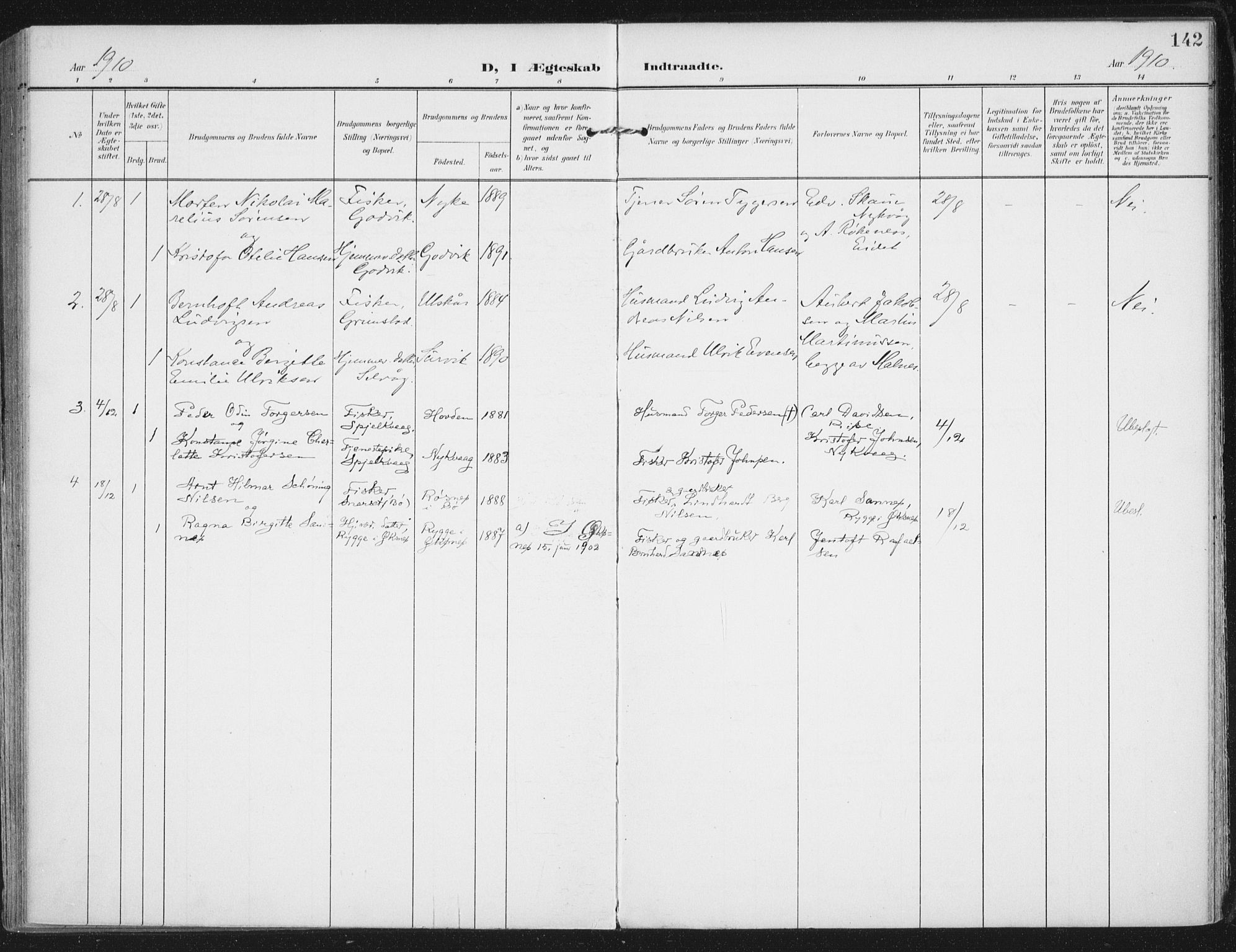 SAT, Ministerialprotokoller, klokkerbøker og fødselsregistre - Nordland, 892/L1321: Ministerialbok nr. 892A02, 1902-1918, s. 142