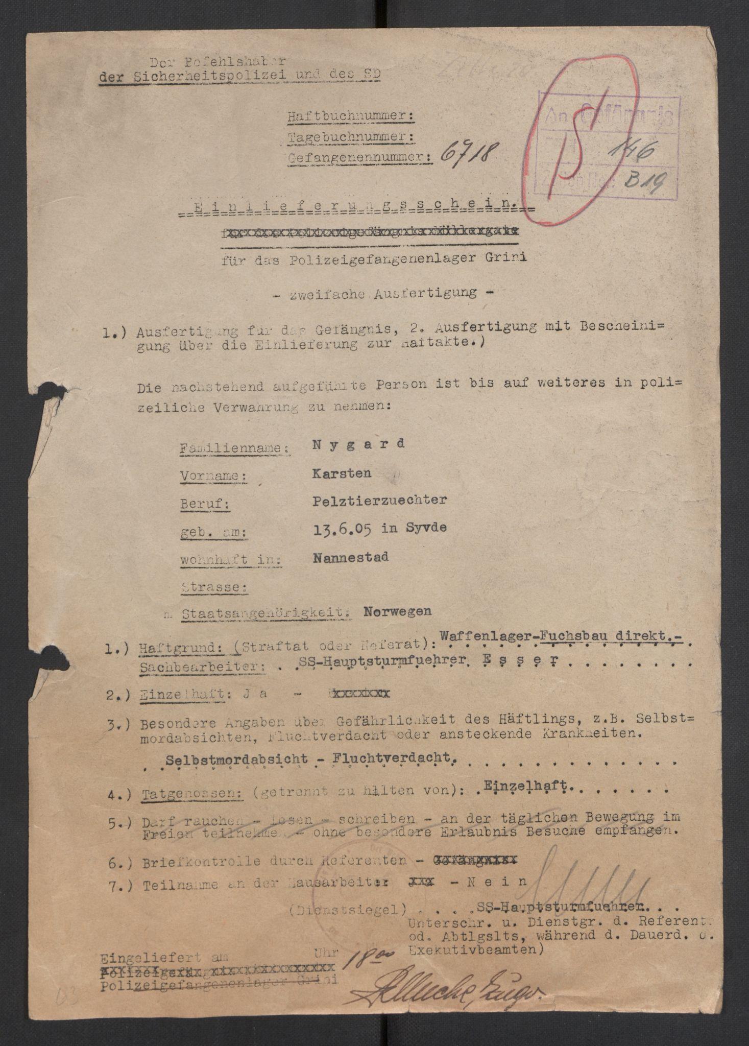 RA, Befehlshaber der Sicherheitspolizei und des SD, E/Ea/Eae/L0004: Einlieferungsschein 6567-7772, 1944-1945
