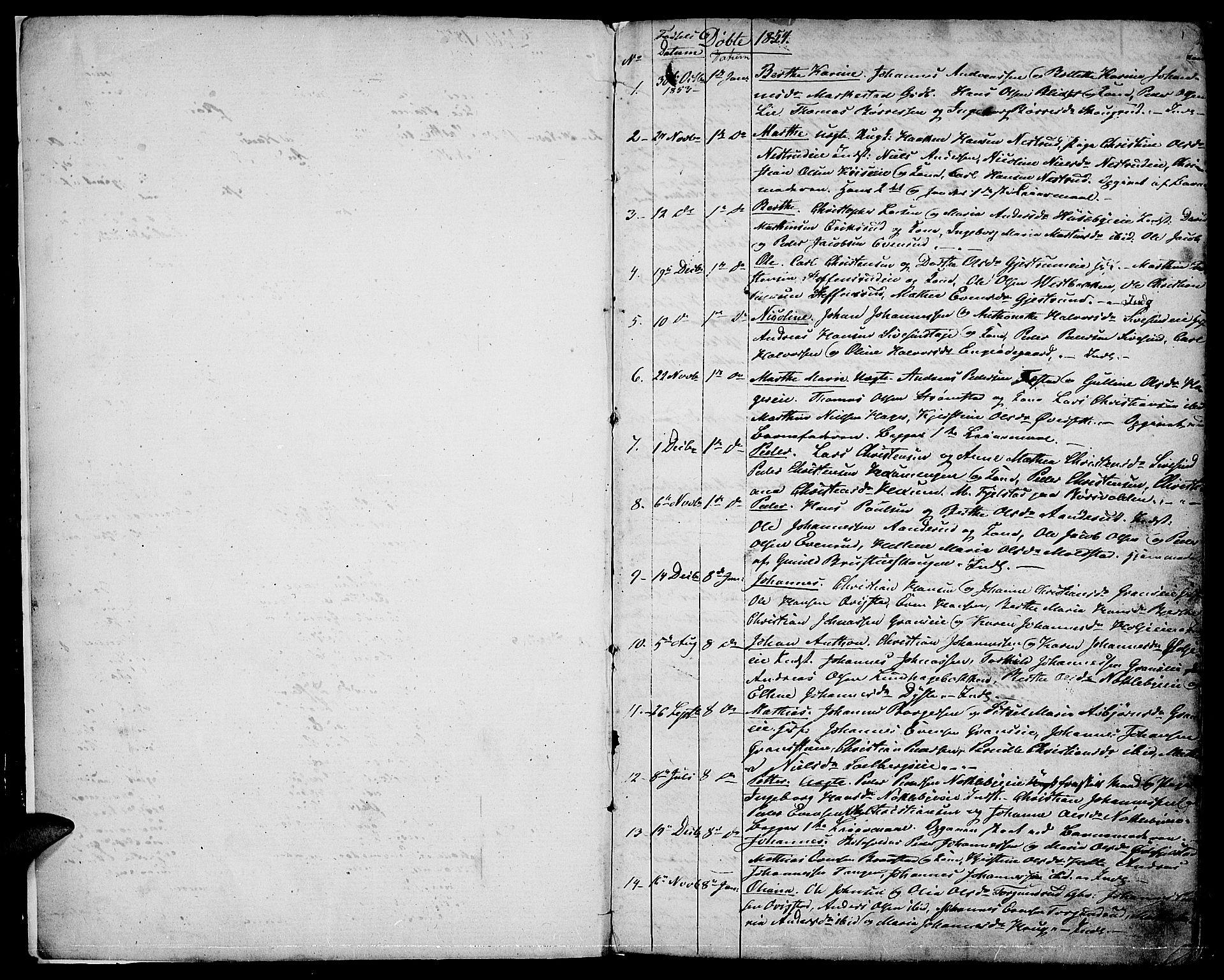 SAH, Vestre Toten prestekontor, H/Ha/Hab/L0005: Klokkerbok nr. 5, 1854-1870, s. 1