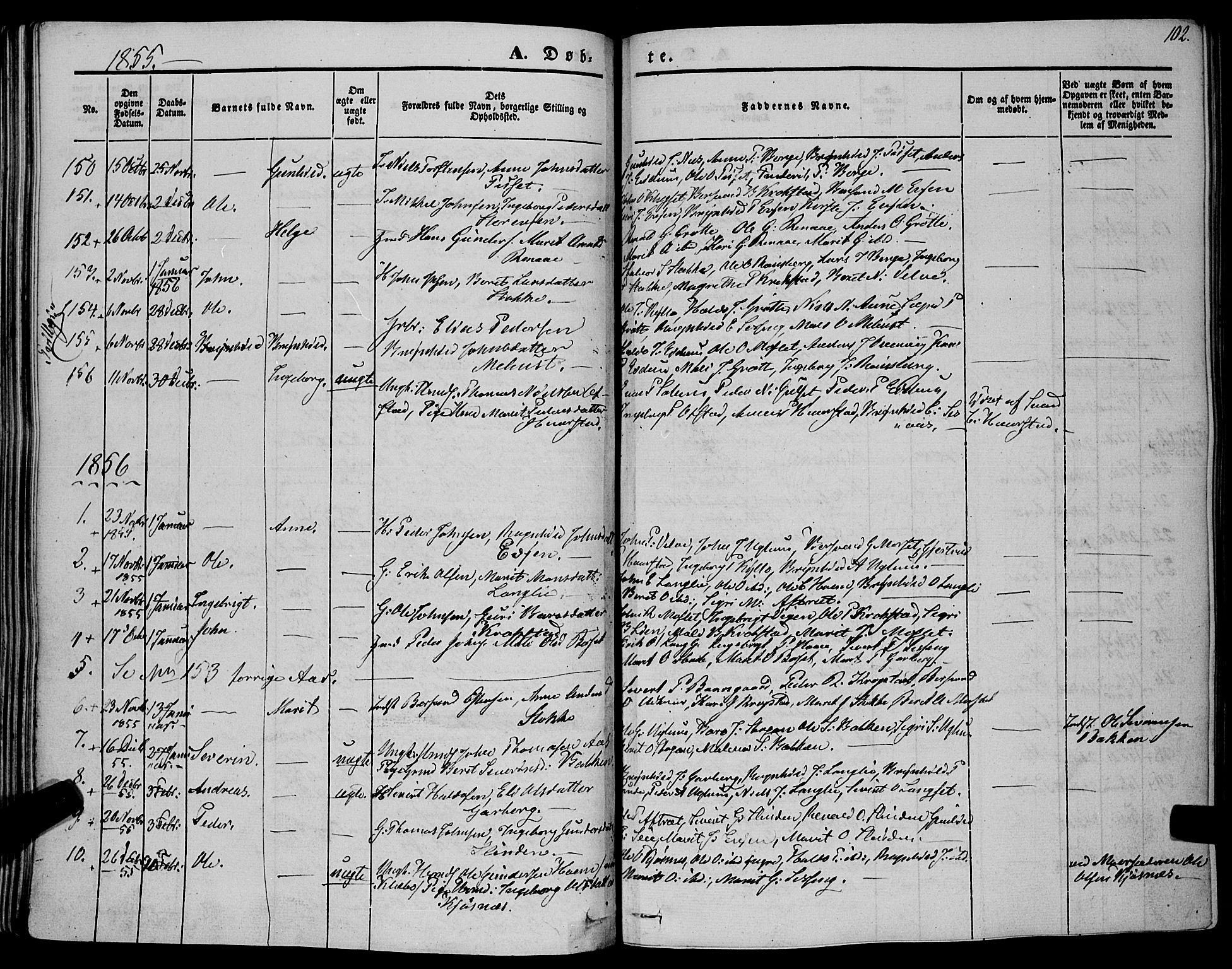 SAT, Ministerialprotokoller, klokkerbøker og fødselsregistre - Sør-Trøndelag, 695/L1145: Ministerialbok nr. 695A06 /1, 1843-1859, s. 102