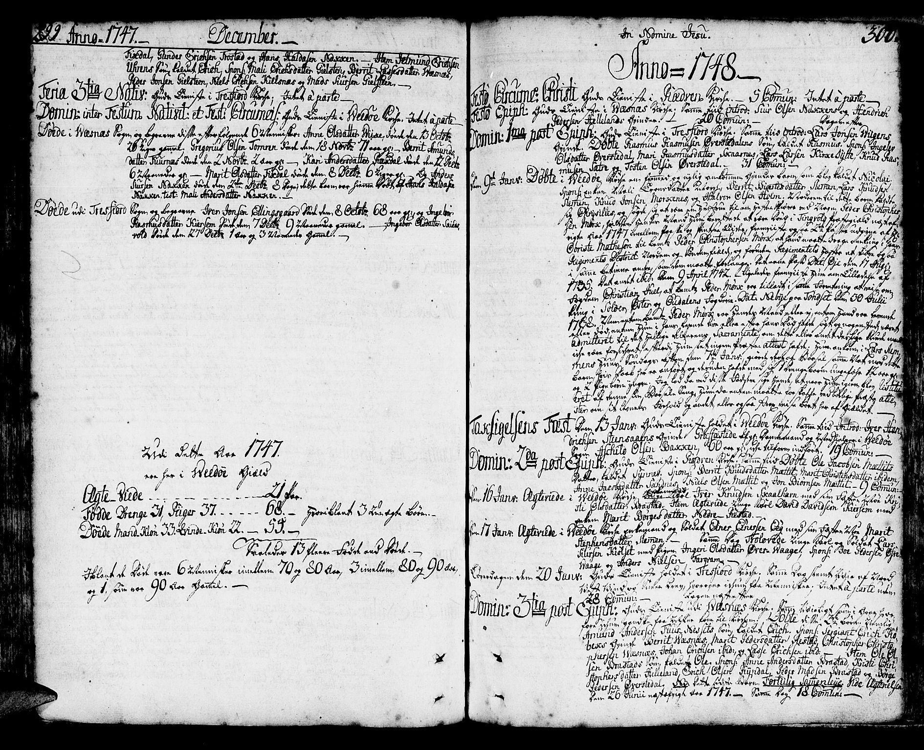 SAT, Ministerialprotokoller, klokkerbøker og fødselsregistre - Møre og Romsdal, 547/L0599: Ministerialbok nr. 547A01, 1721-1764, s. 298-299