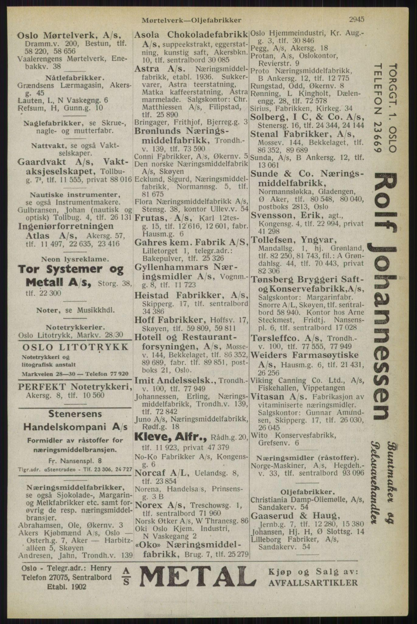 RA, Oslo adressebok (publikasjon)*, 1944, s. 2945