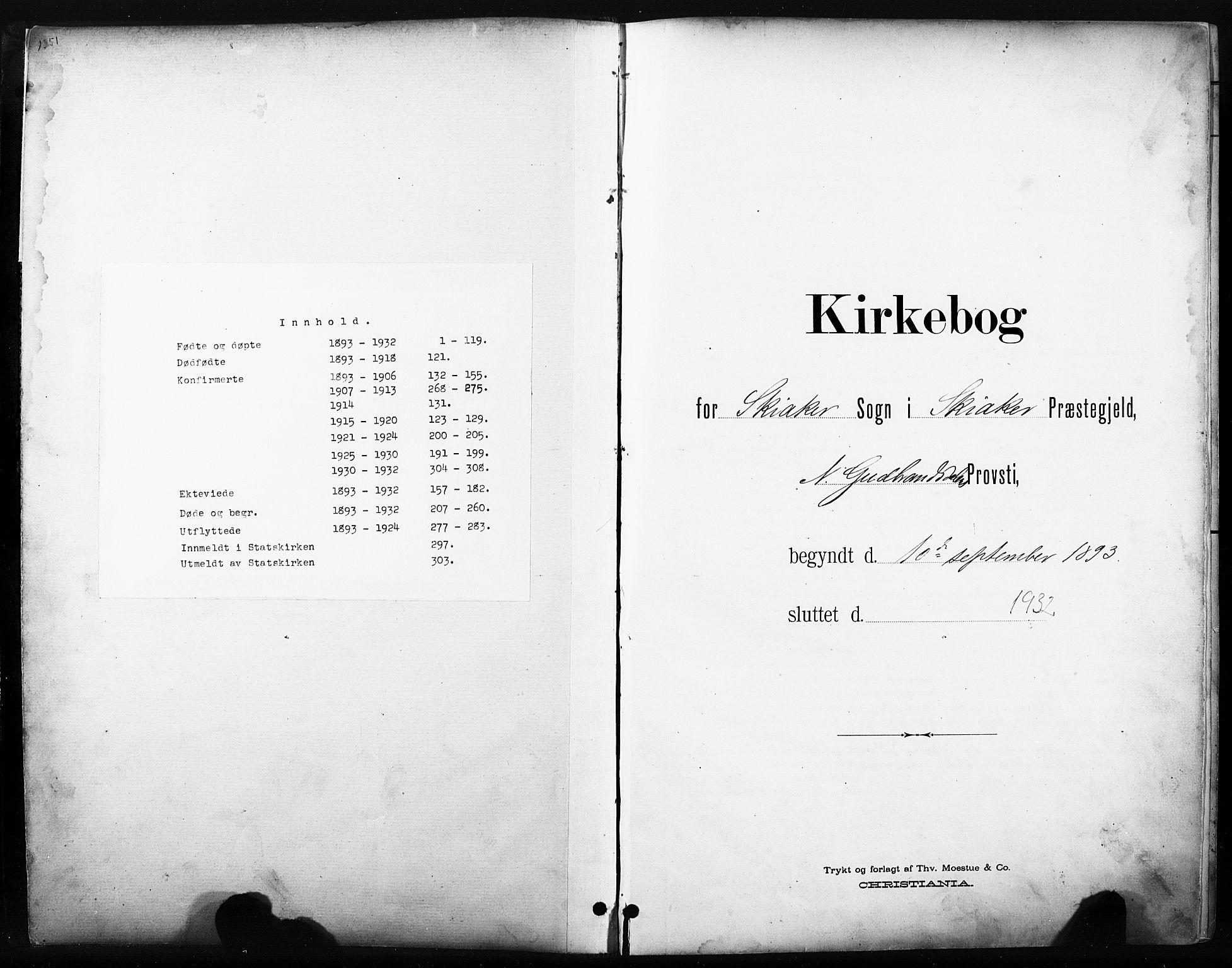 SAH, Skjåk prestekontor, Klokkerbok nr. 3, 1893-1932