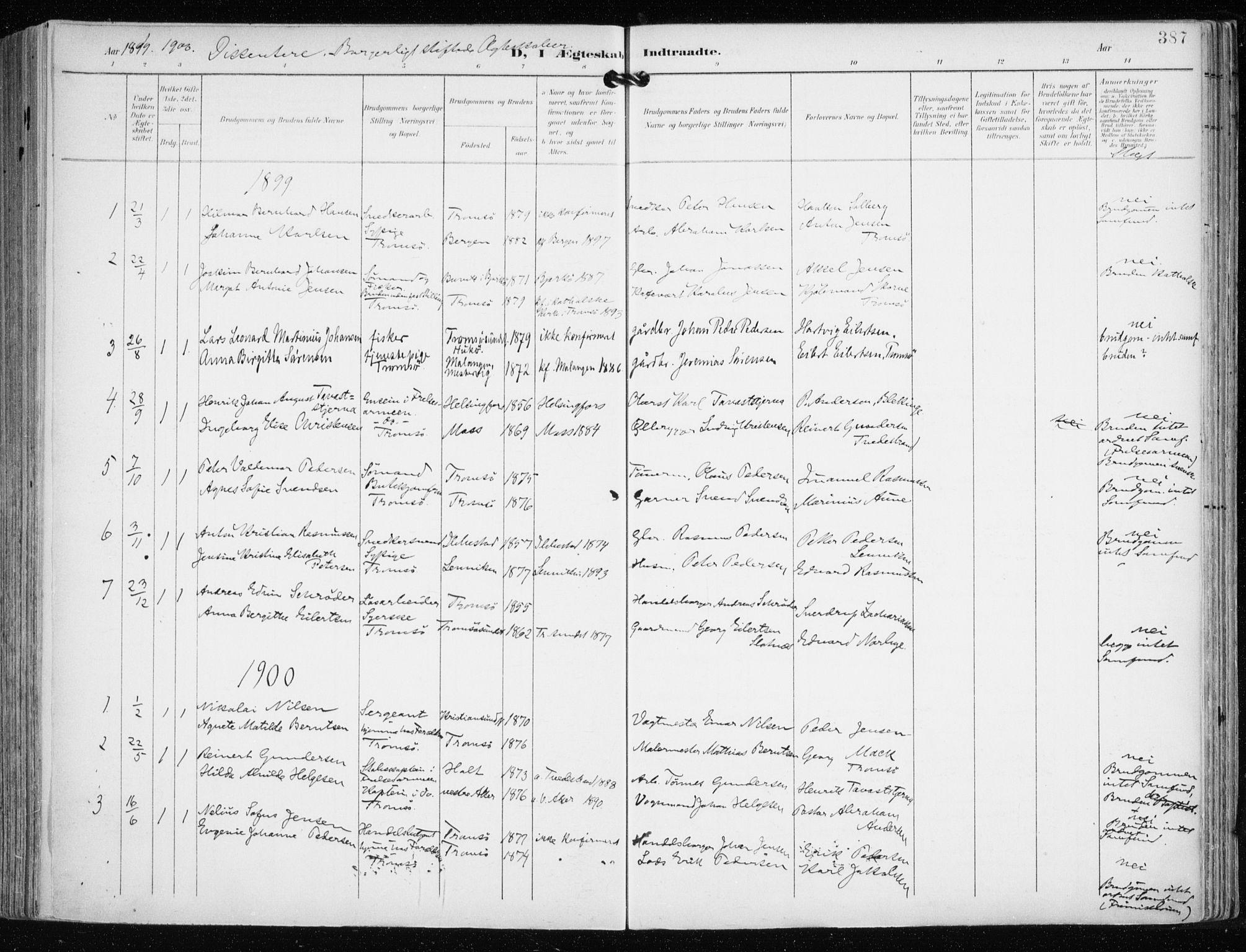SATØ, Tromsø sokneprestkontor/stiftsprosti/domprosti, G/Ga/L0016kirke: Ministerialbok nr. 16, 1899-1906, s. 387