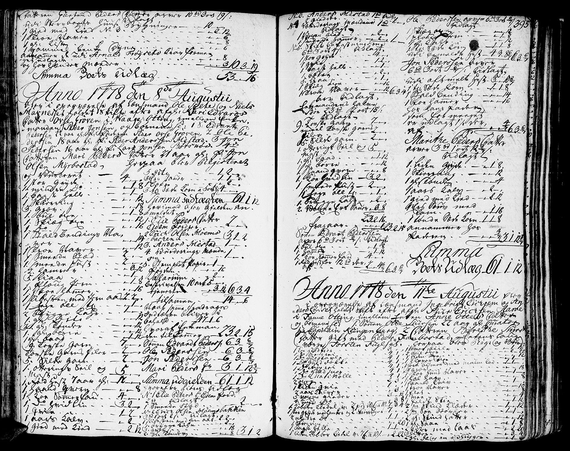 SAT, Romsdal sorenskriveri, 3/3A/L0010: Skifteprotokoll, 1774-1782, s. 394b-395a