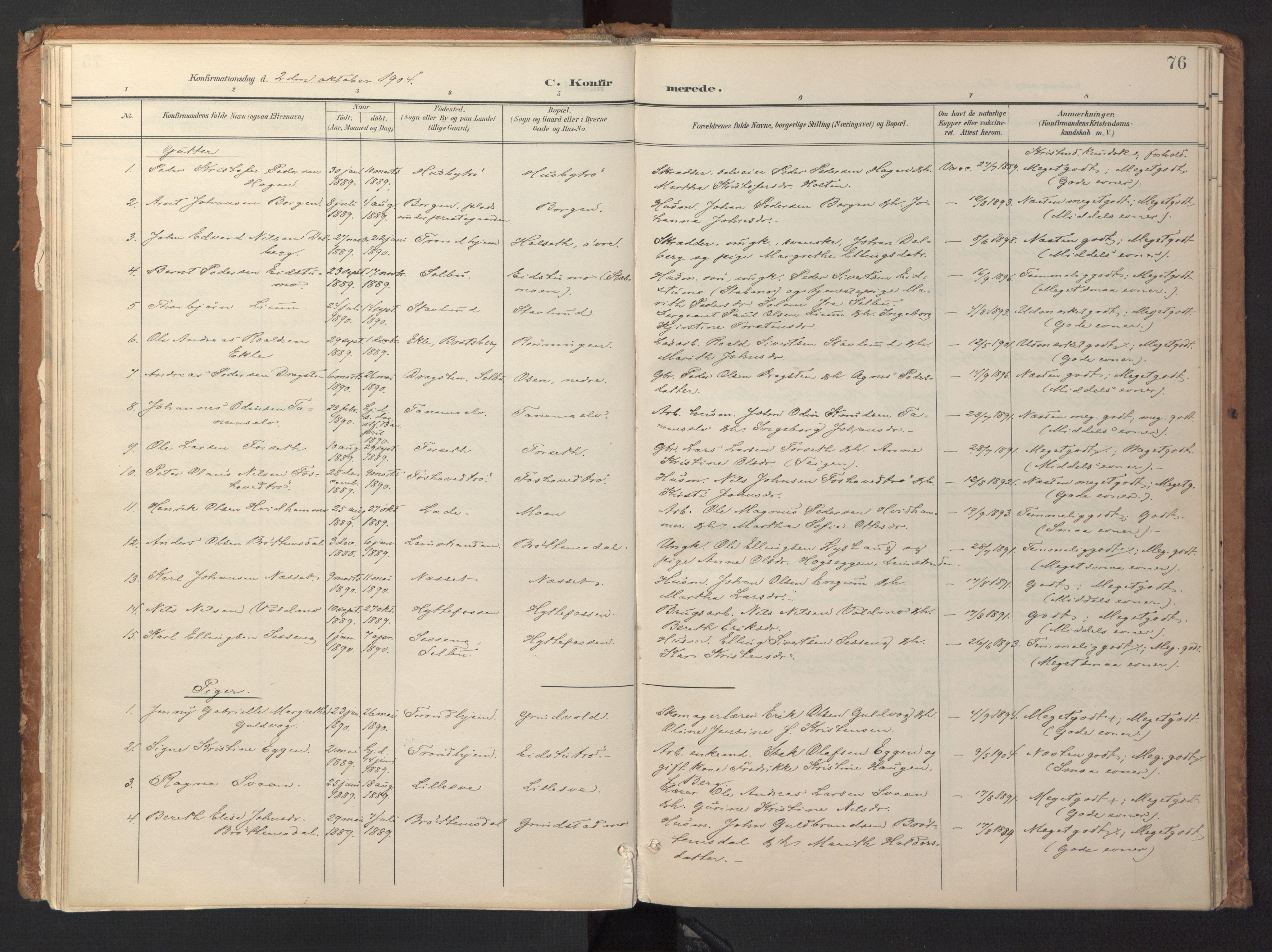 SAT, Ministerialprotokoller, klokkerbøker og fødselsregistre - Sør-Trøndelag, 618/L0448: Ministerialbok nr. 618A11, 1898-1916, s. 76