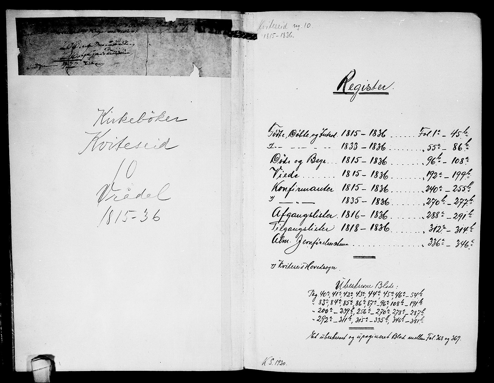 SAKO, Kviteseid kirkebøker, F/Fc/L0001: Ministerialbok nr. III 1, 1815-1836