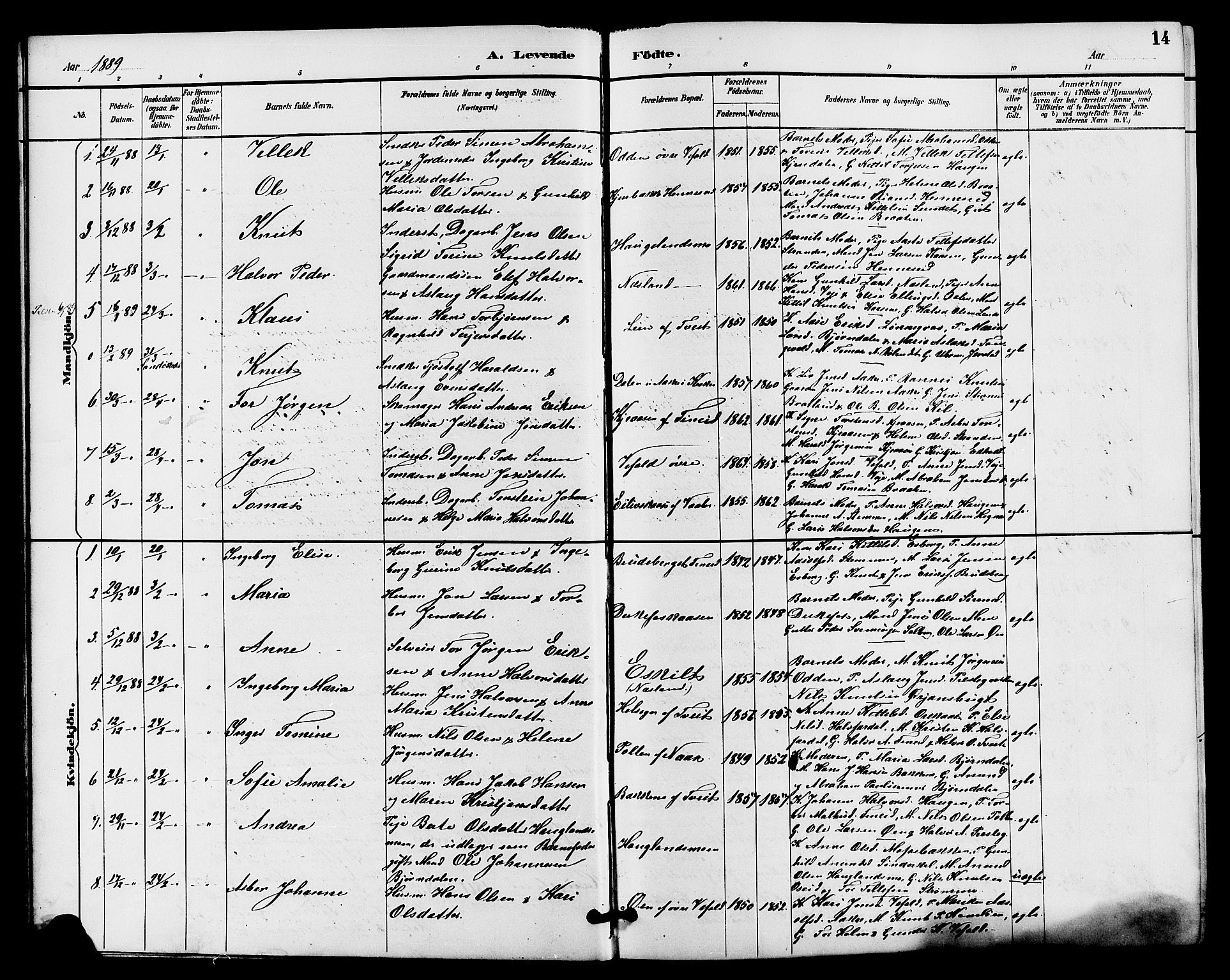 SAKO, Drangedal kirkebøker, G/Ga/L0003: Klokkerbok nr. I 3, 1887-1906, s. 14