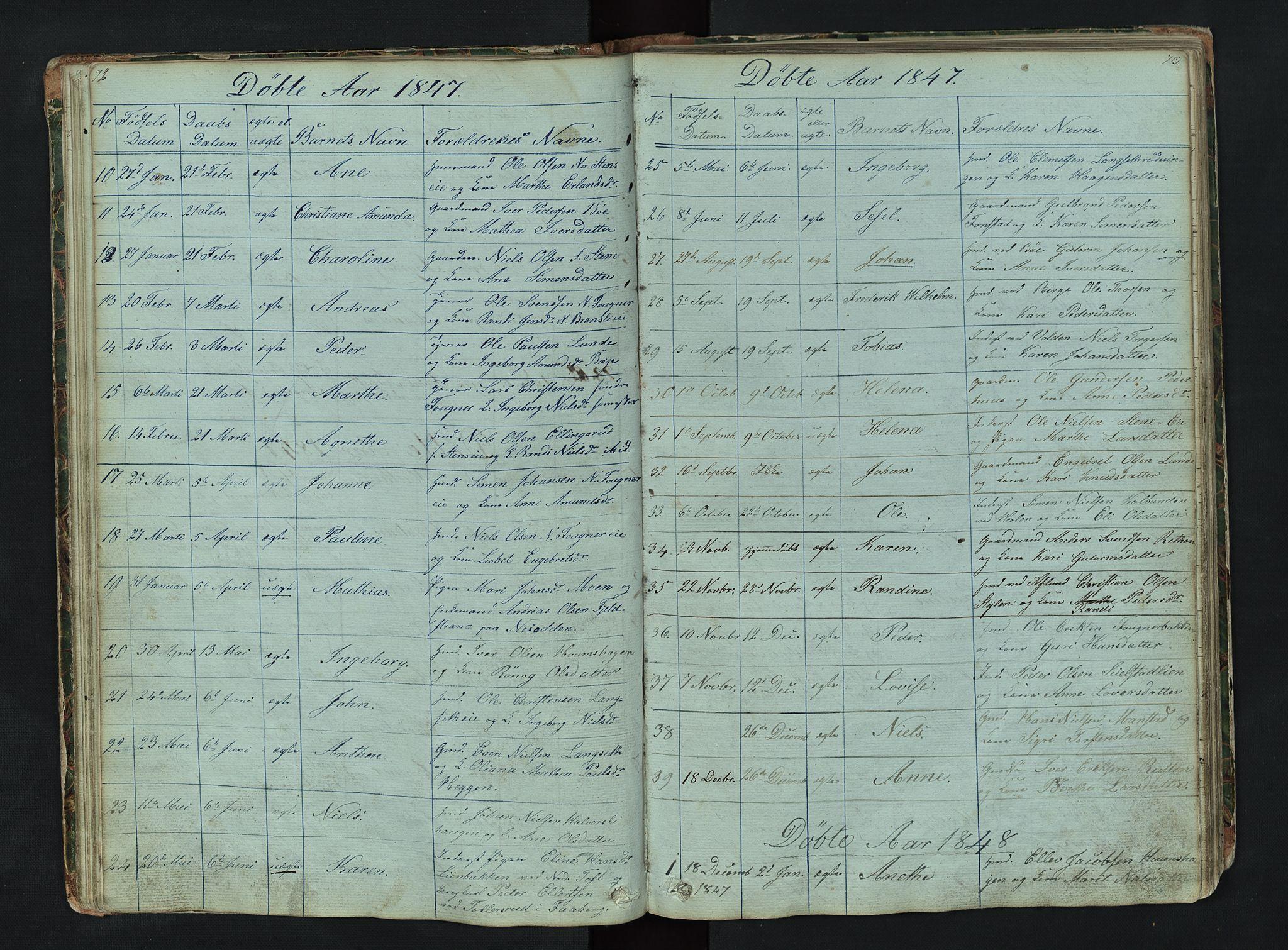 SAH, Gausdal prestekontor, Klokkerbok nr. 6, 1846-1893, s. 72-73