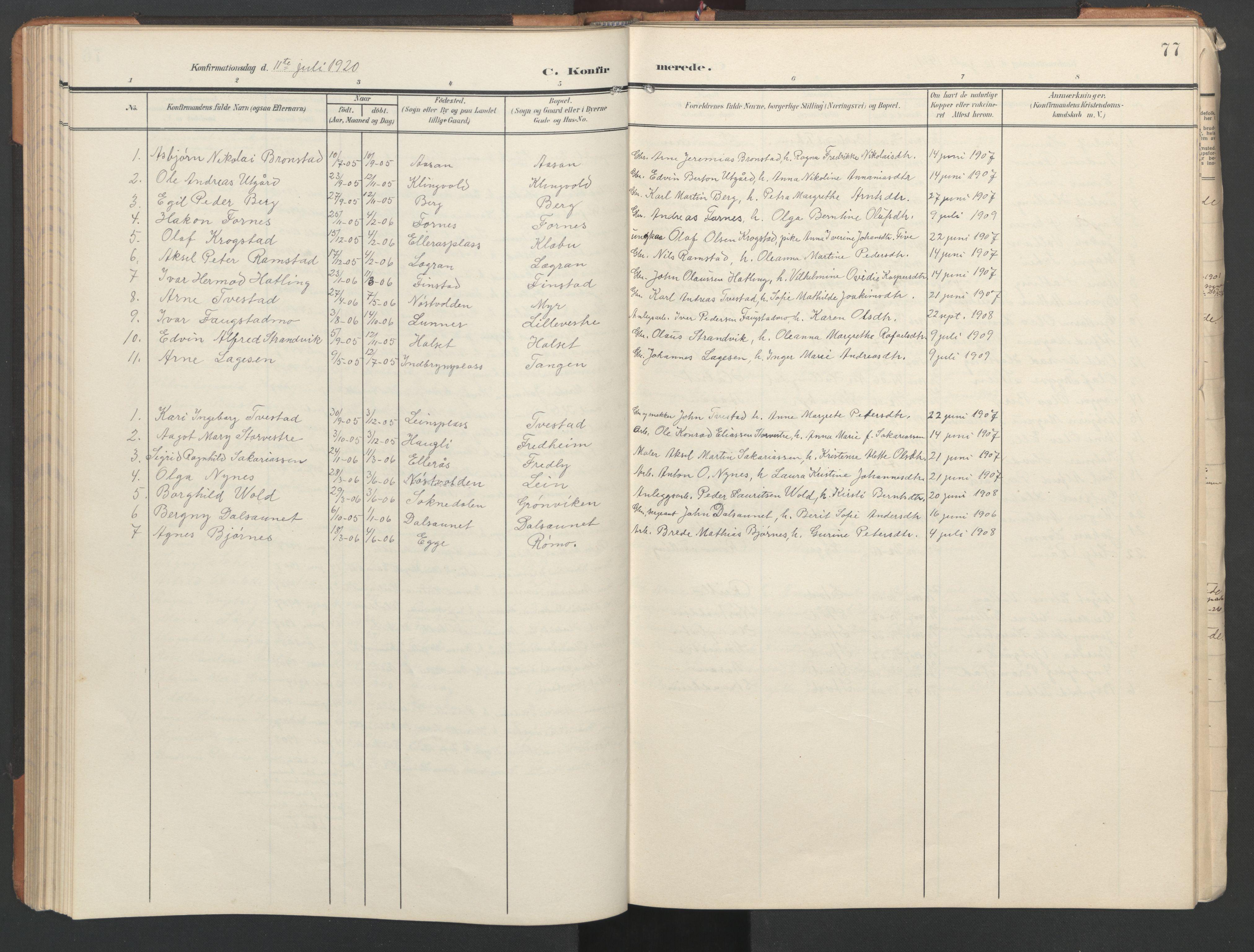 SAT, Ministerialprotokoller, klokkerbøker og fødselsregistre - Nord-Trøndelag, 746/L0455: Klokkerbok nr. 746C01, 1908-1933, s. 77