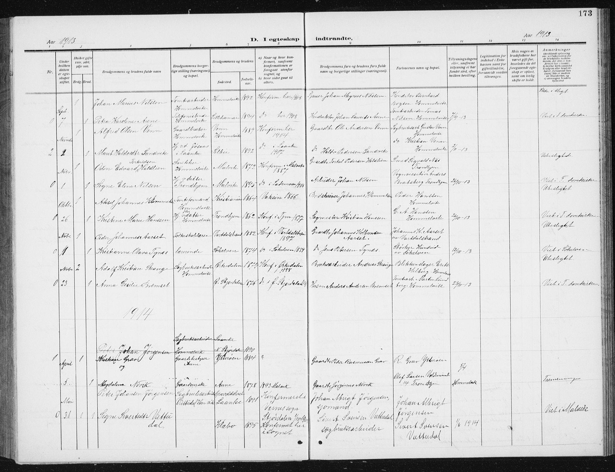 SAT, Ministerialprotokoller, klokkerbøker og fødselsregistre - Sør-Trøndelag, 617/L0431: Klokkerbok nr. 617C02, 1910-1936, s. 173