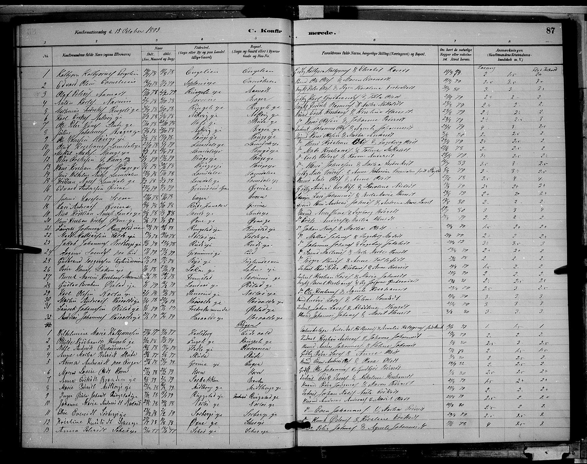 SAH, Søndre Land prestekontor, L/L0002: Klokkerbok nr. 2, 1884-1900, s. 87