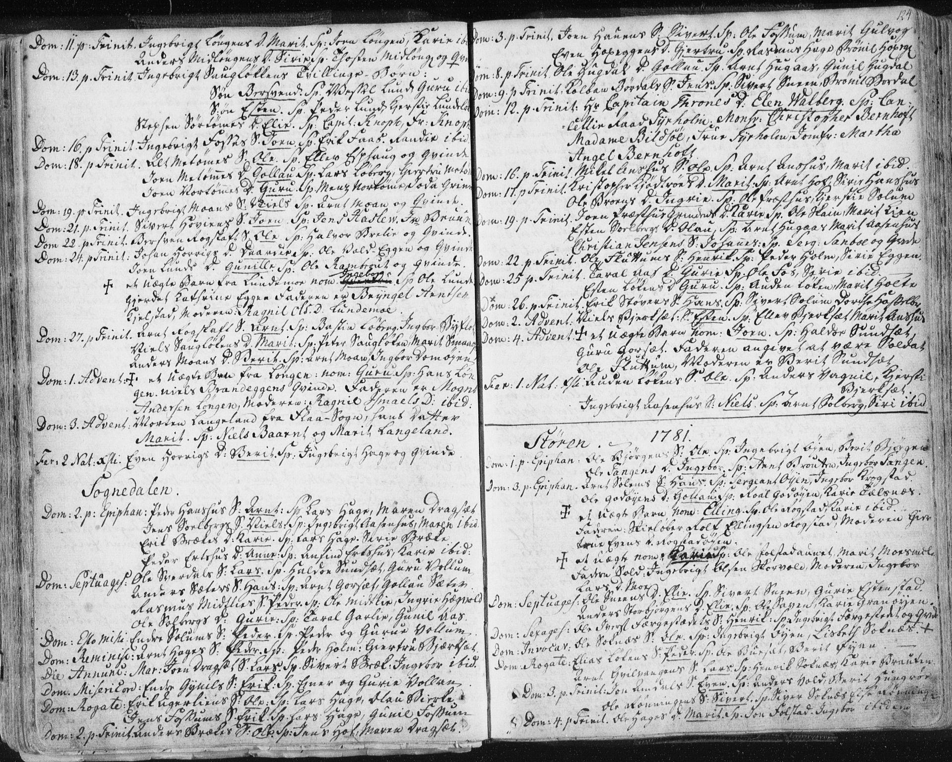 SAT, Ministerialprotokoller, klokkerbøker og fødselsregistre - Sør-Trøndelag, 687/L0991: Ministerialbok nr. 687A02, 1747-1790, s. 124