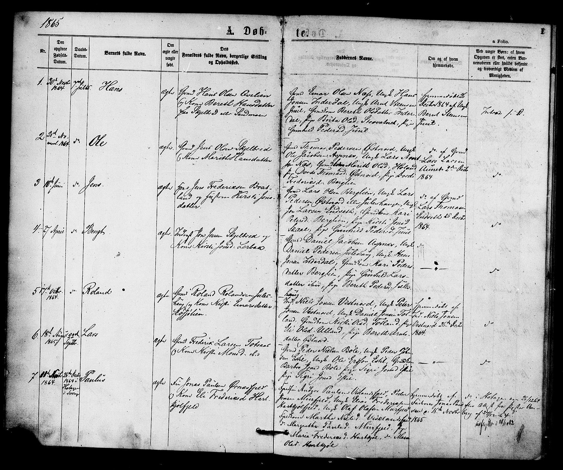 SAT, Ministerialprotokoller, klokkerbøker og fødselsregistre - Nord-Trøndelag, 755/L0493: Ministerialbok nr. 755A02, 1865-1881, s. 1