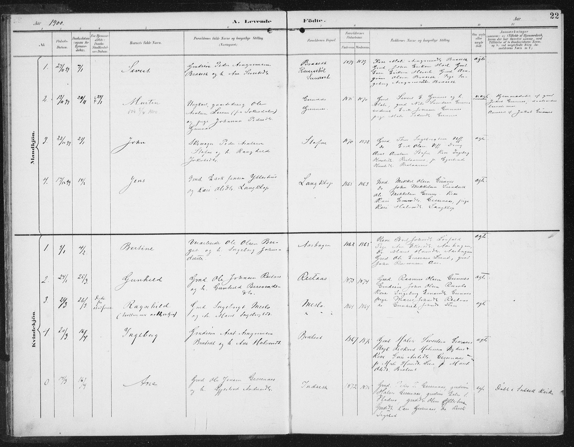 SAT, Ministerialprotokoller, klokkerbøker og fødselsregistre - Sør-Trøndelag, 674/L0872: Ministerialbok nr. 674A04, 1897-1907, s. 22