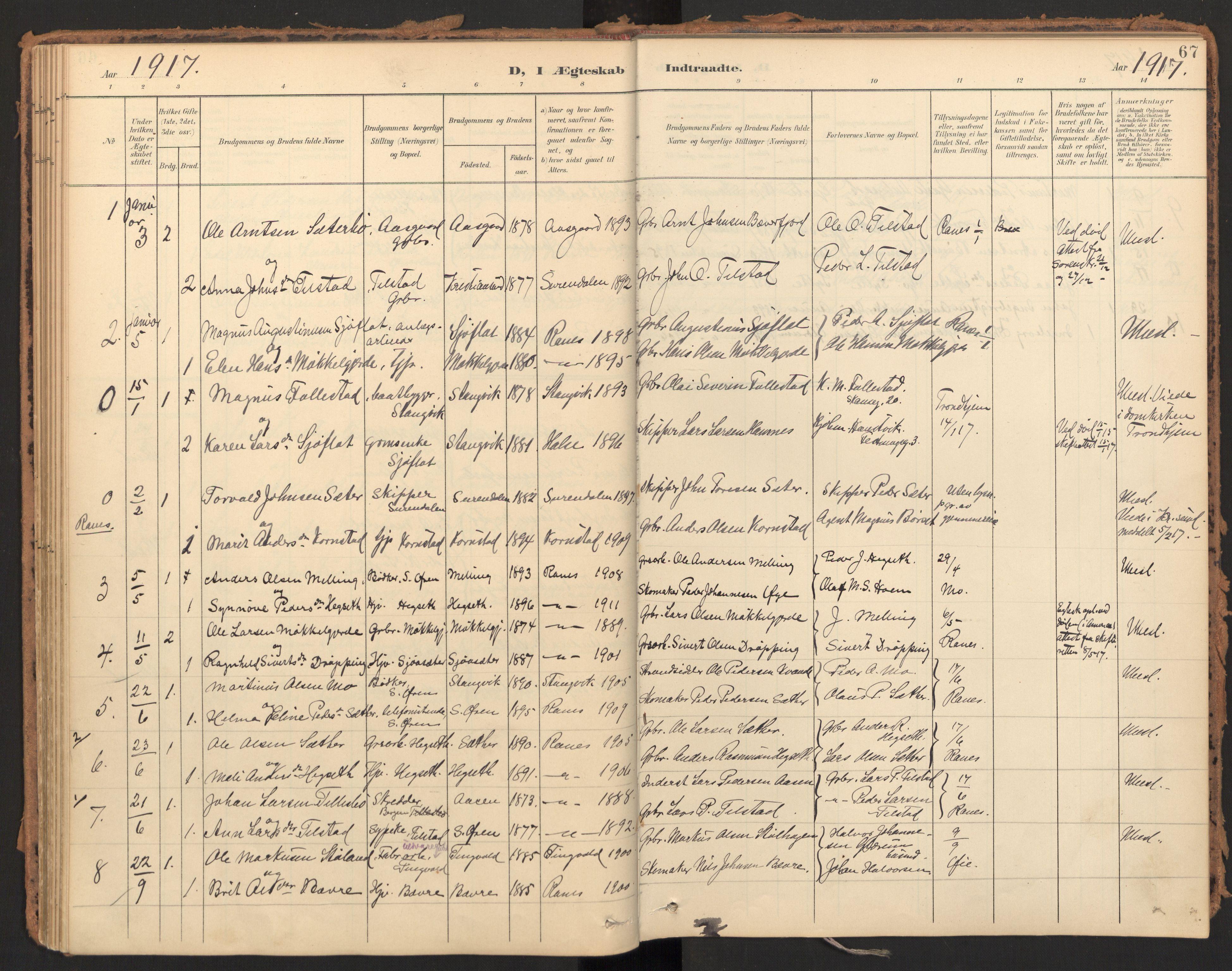 SAT, Ministerialprotokoller, klokkerbøker og fødselsregistre - Møre og Romsdal, 595/L1048: Ministerialbok nr. 595A10, 1900-1917, s. 67