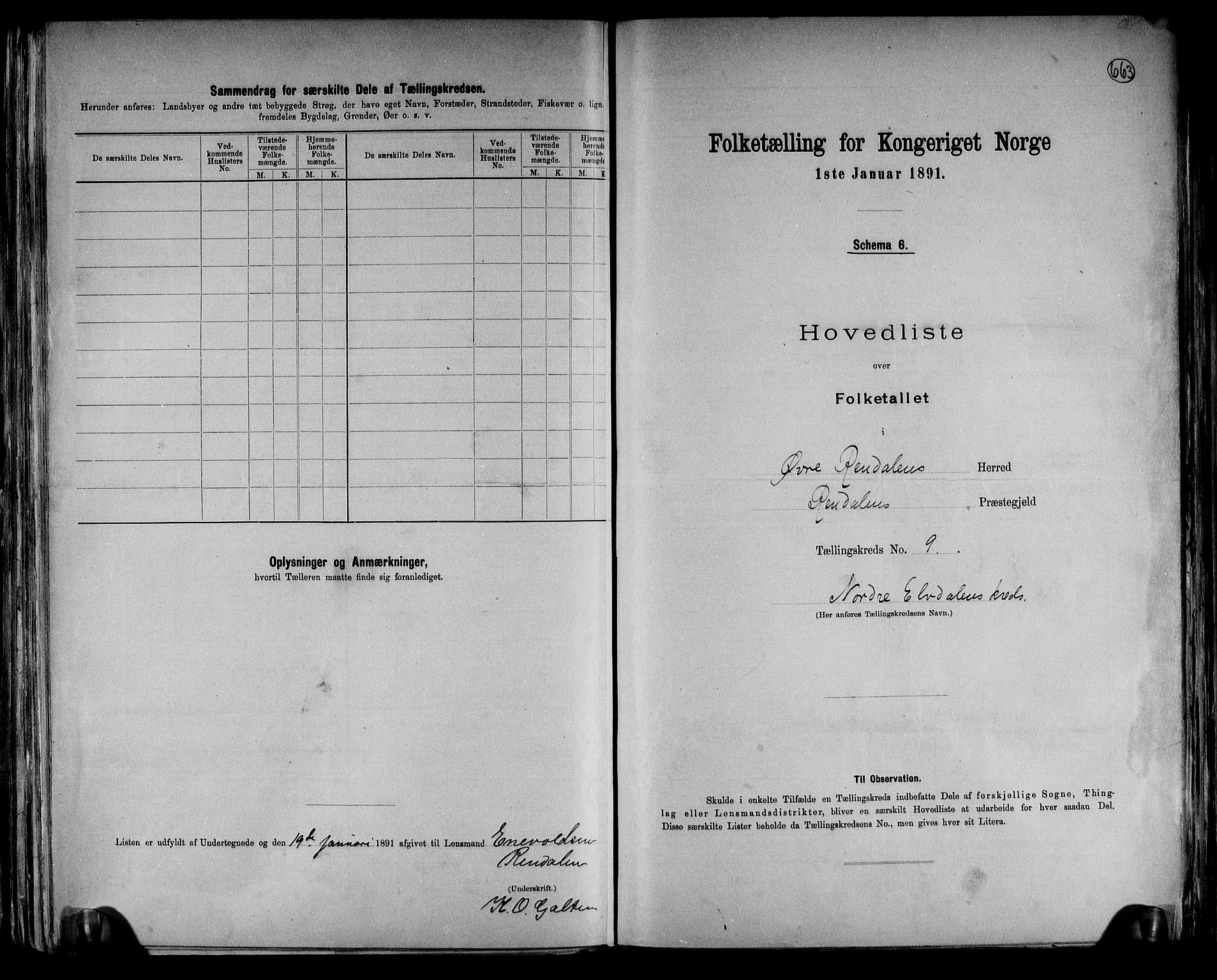 RA, Folketelling 1891 for 0433 Øvre Rendal herred, 1891, s. 19