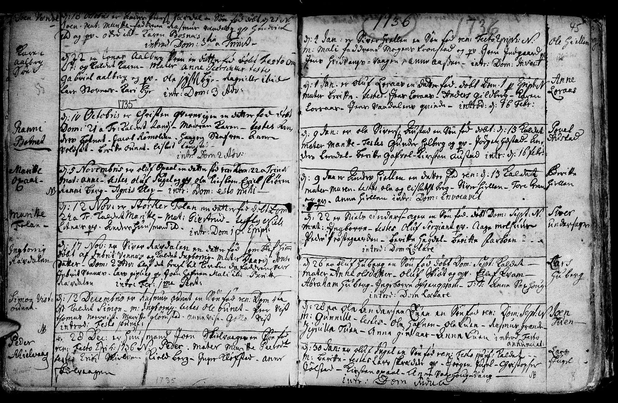 SAT, Ministerialprotokoller, klokkerbøker og fødselsregistre - Nord-Trøndelag, 730/L0272: Ministerialbok nr. 730A01, 1733-1764, s. 45