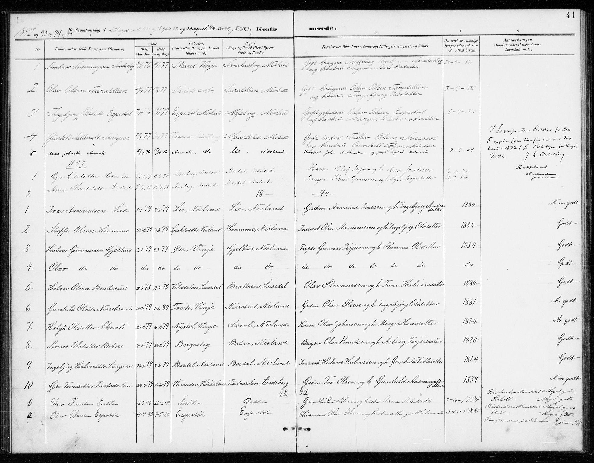 SAKO, Vinje kirkebøker, G/Gb/L0003: Klokkerbok nr. II 3, 1892-1943, s. 41