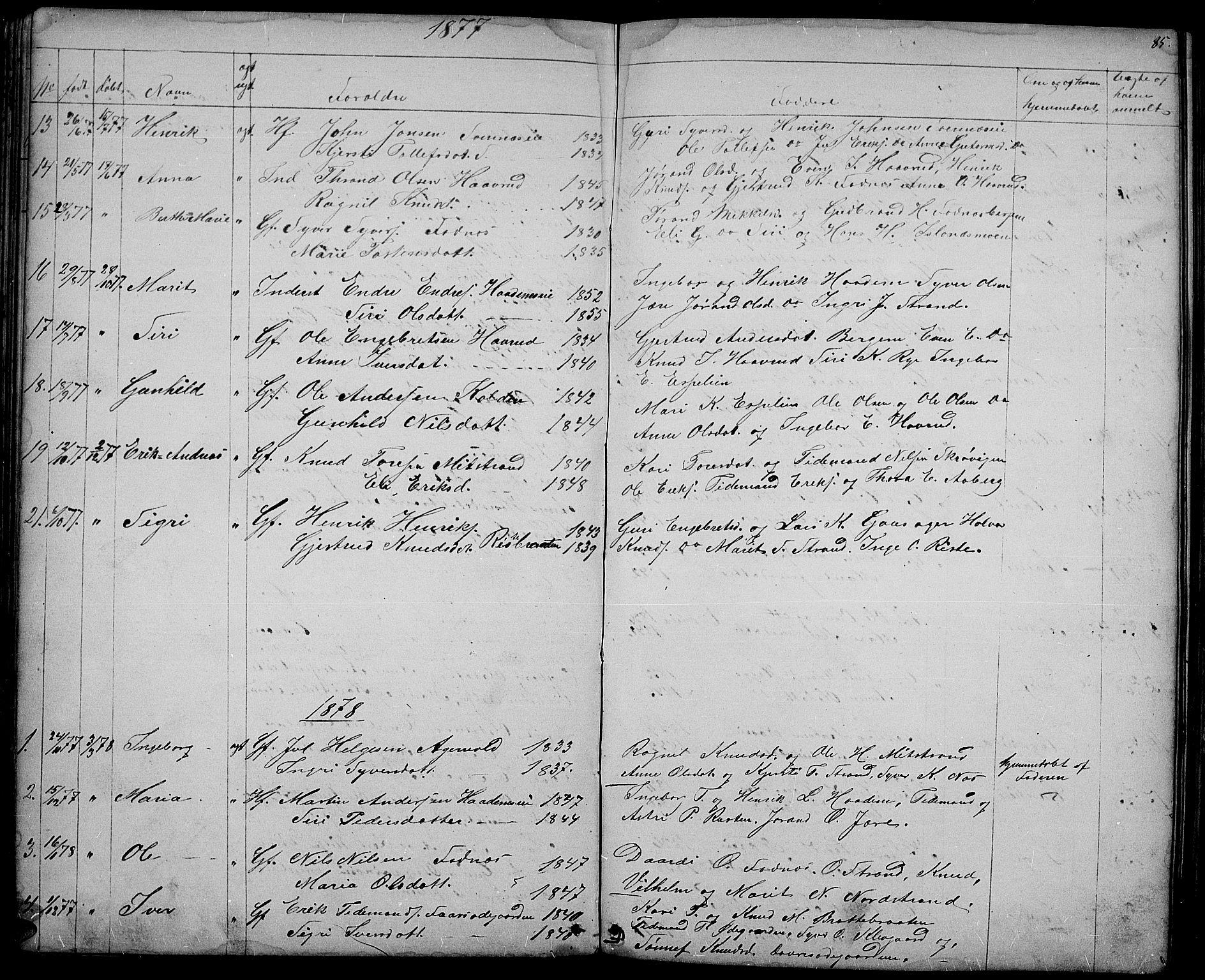 SAH, Nord-Aurdal prestekontor, Klokkerbok nr. 3, 1842-1882, s. 85