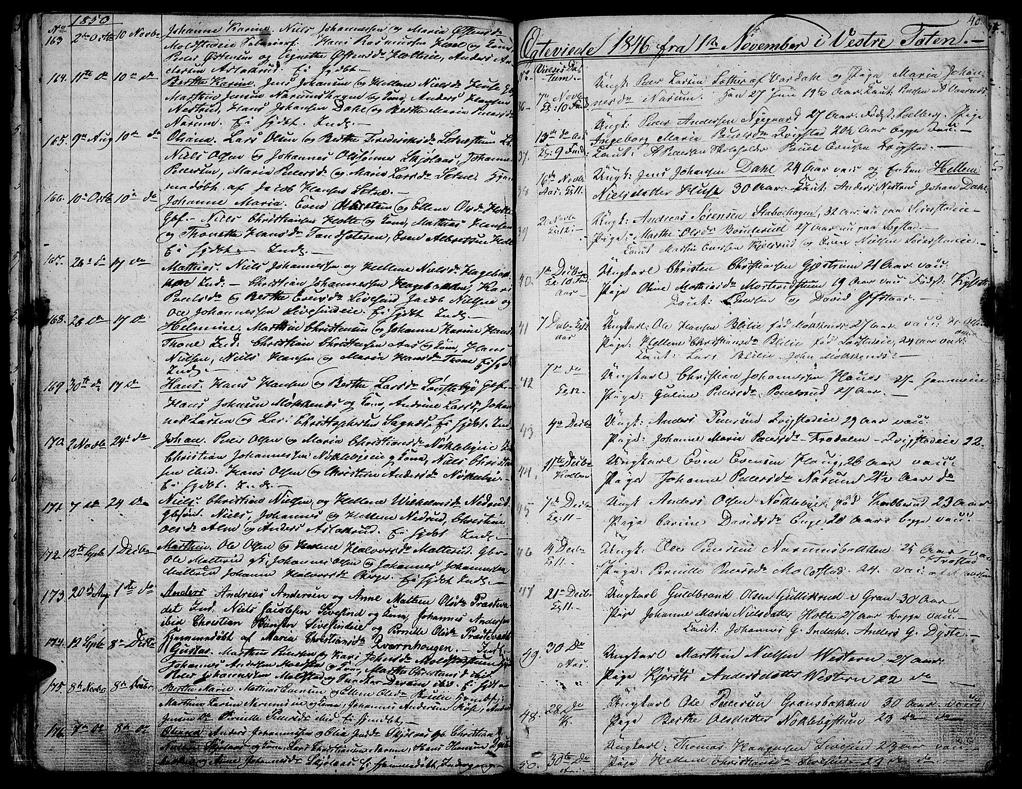 SAH, Vestre Toten prestekontor, H/Ha/Hab/L0003: Klokkerbok nr. 3, 1846-1854, s. 40