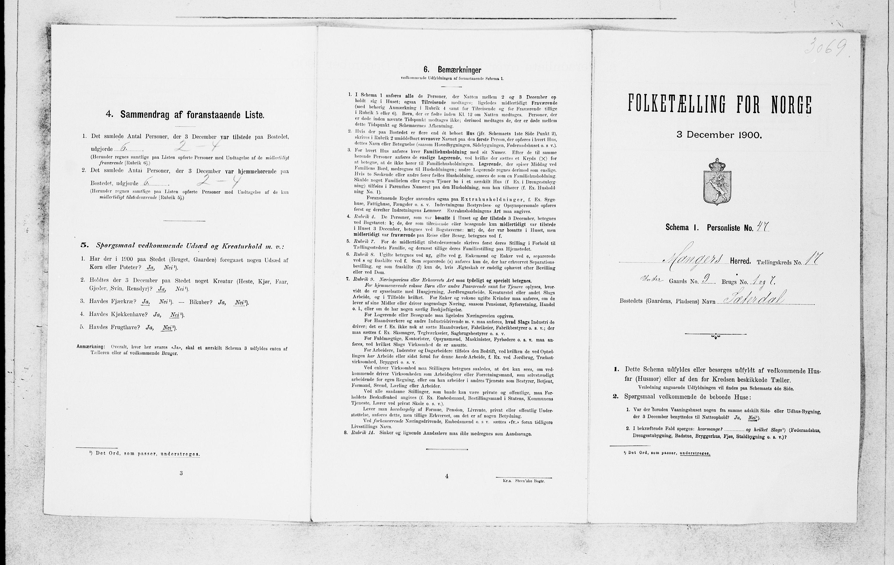 SAB, Folketelling 1900 for 1261 Manger herred, 1900, s. 1667