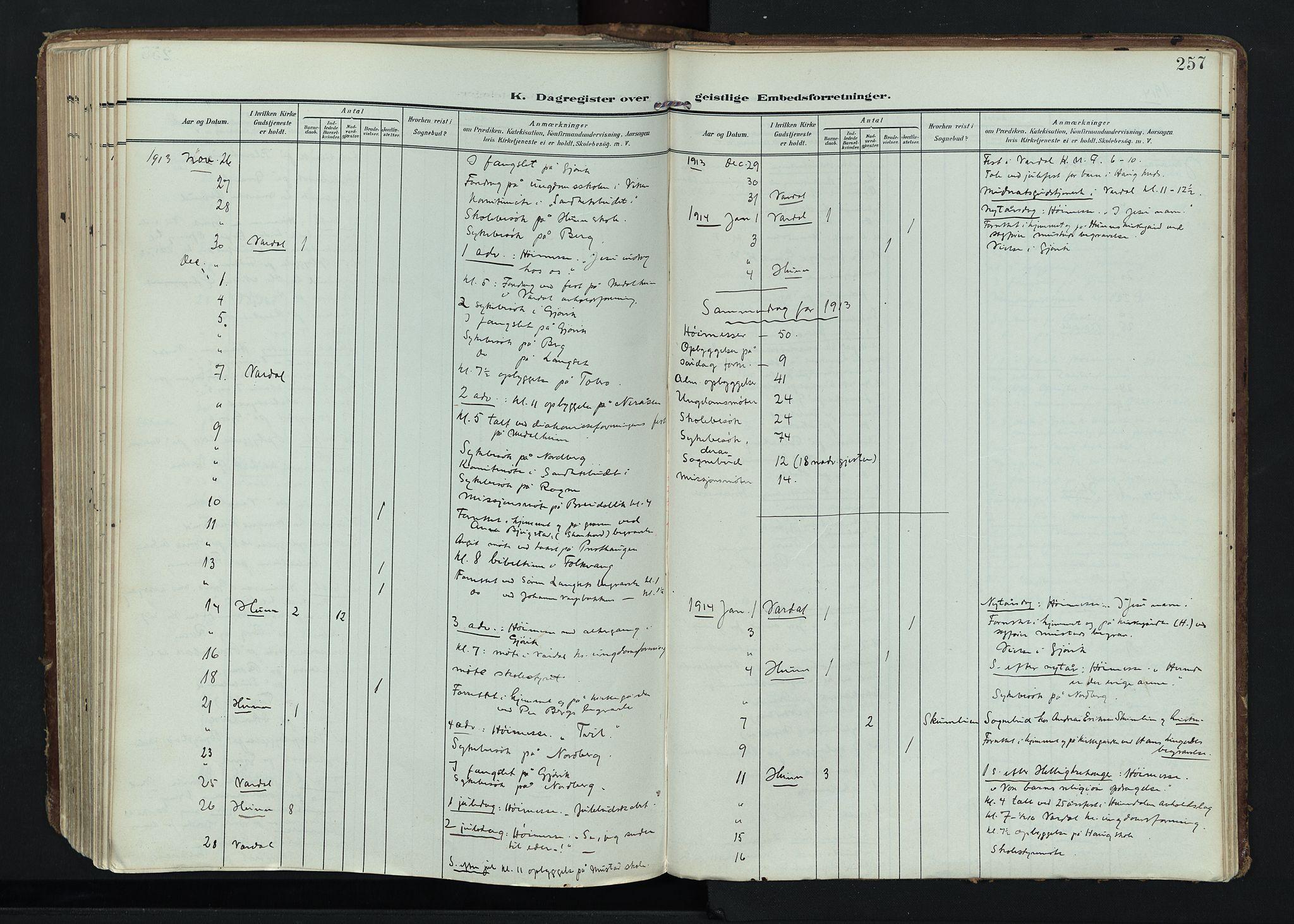 SAH, Vardal prestekontor, H/Ha/Haa/L0020: Ministerialbok nr. 20, 1907-1921, s. 257