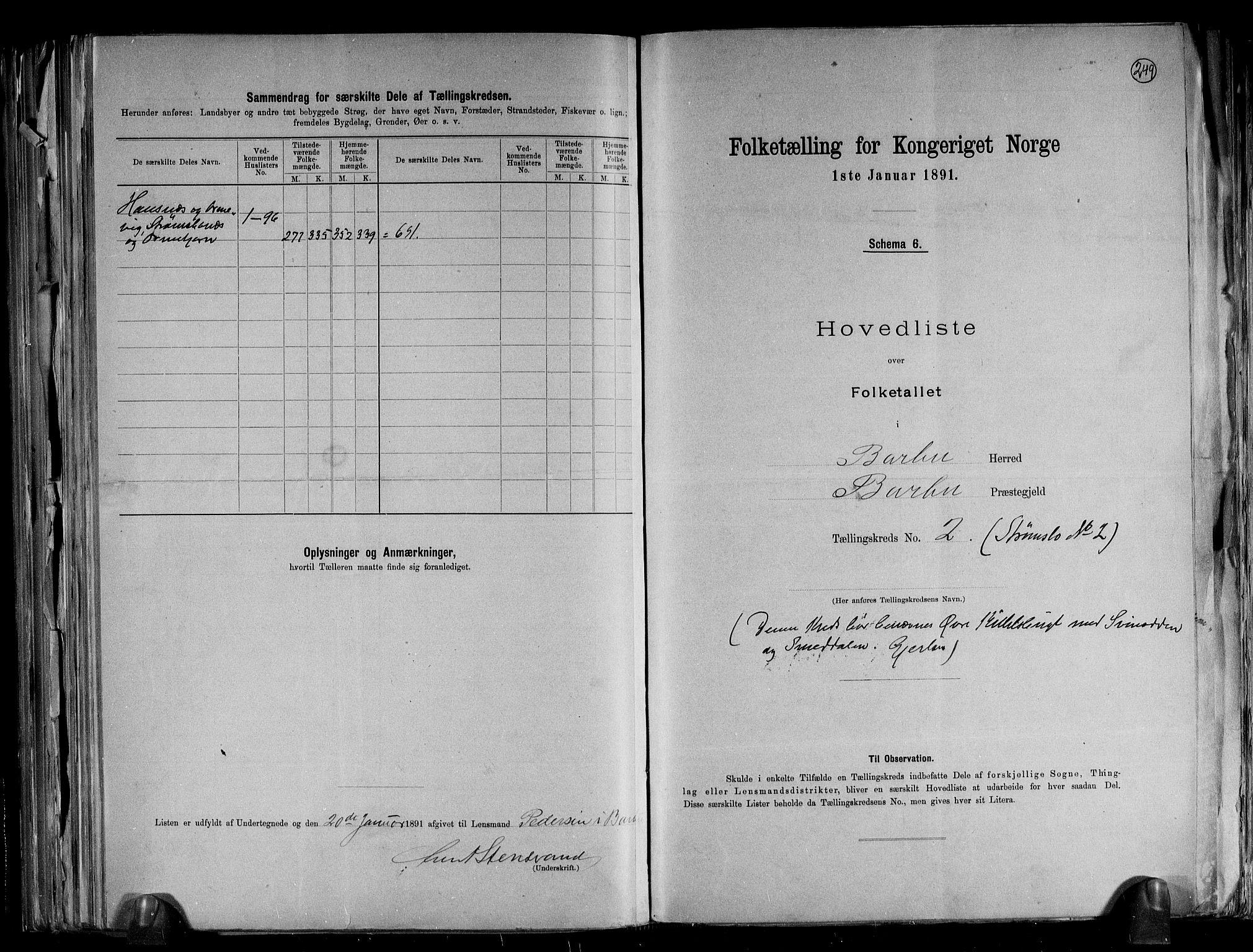 RA, Folketelling 1891 for 0990 Barbu herred, 1891, s. 6