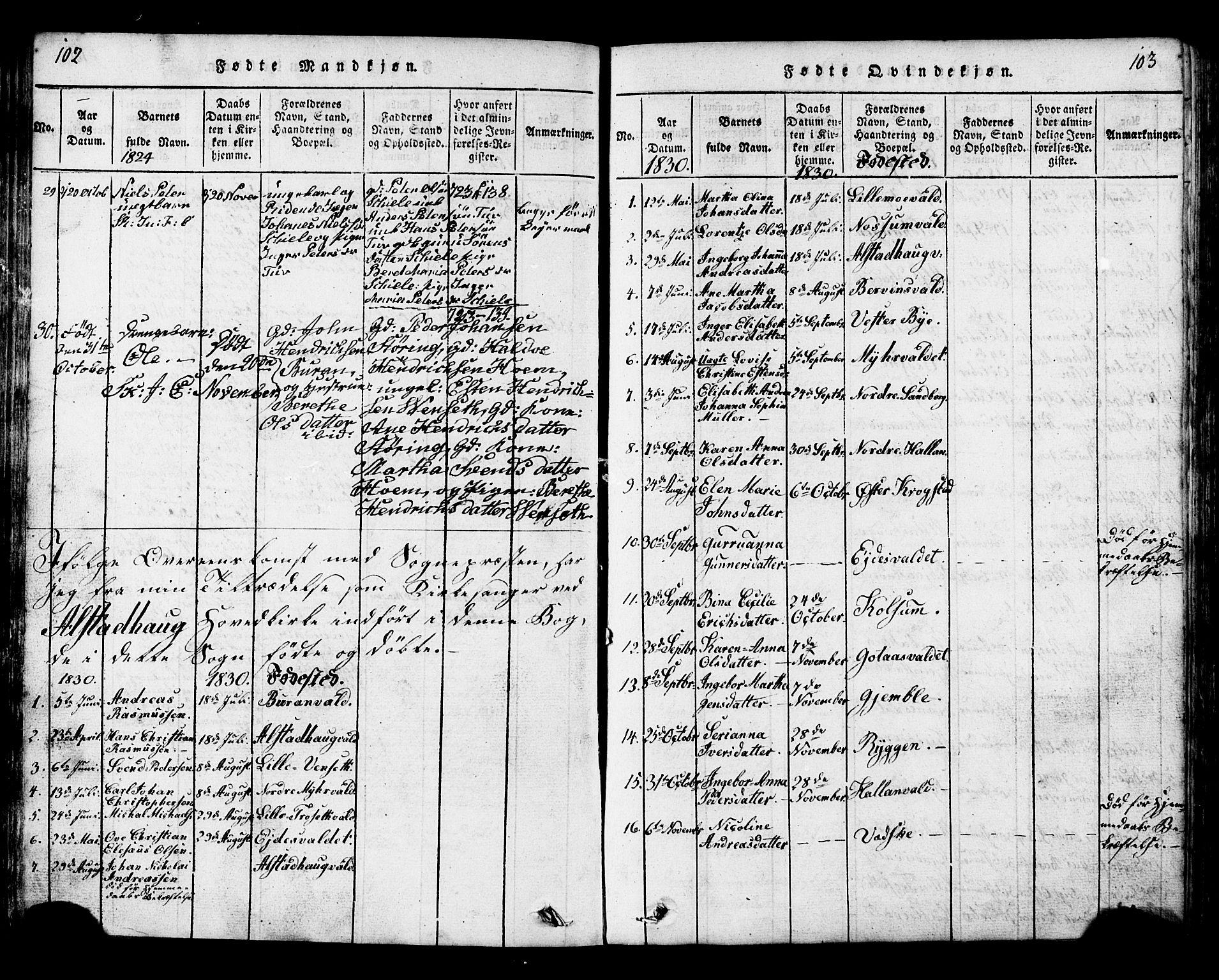 SAT, Ministerialprotokoller, klokkerbøker og fødselsregistre - Nord-Trøndelag, 717/L0169: Klokkerbok nr. 717C01, 1816-1834, s. 102-103