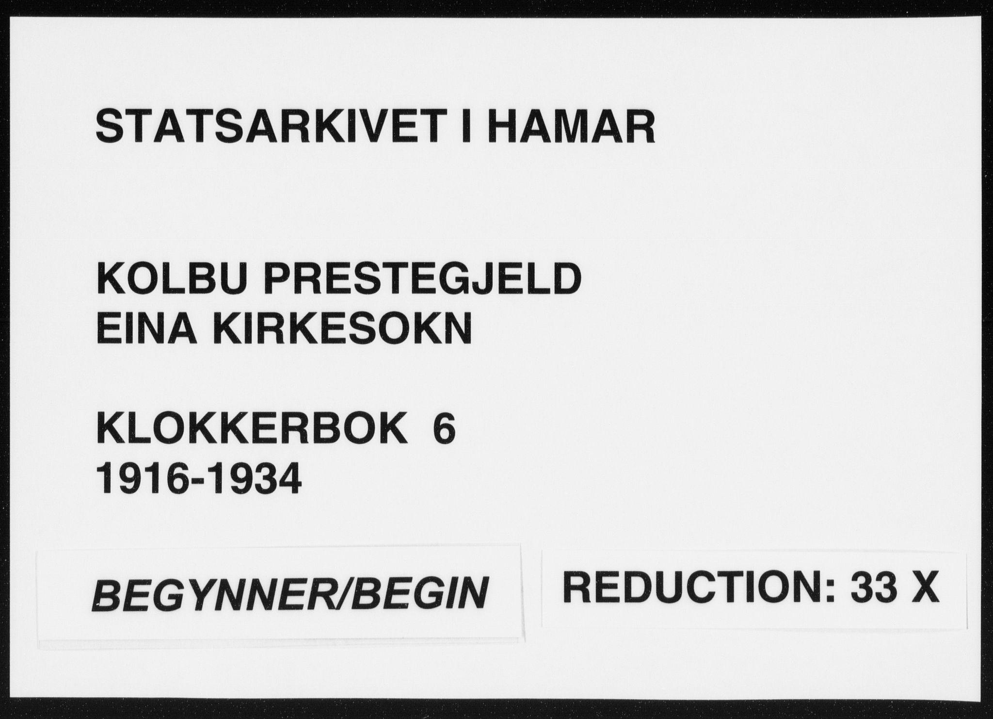 SAH, Kolbu prestekontor, Klokkerbok nr. 6, 1916-1934