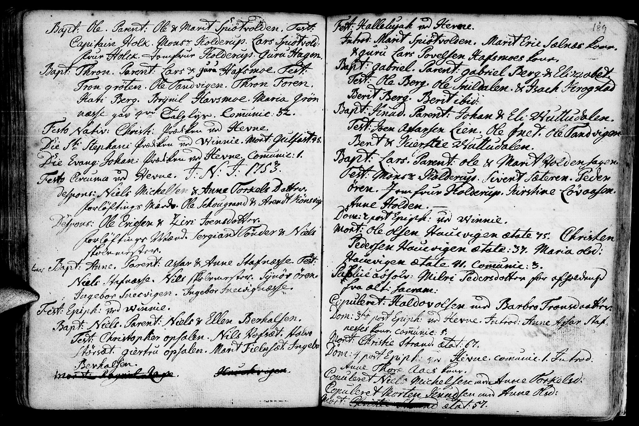 SAT, Ministerialprotokoller, klokkerbøker og fødselsregistre - Sør-Trøndelag, 630/L0488: Ministerialbok nr. 630A01, 1717-1756, s. 188-189