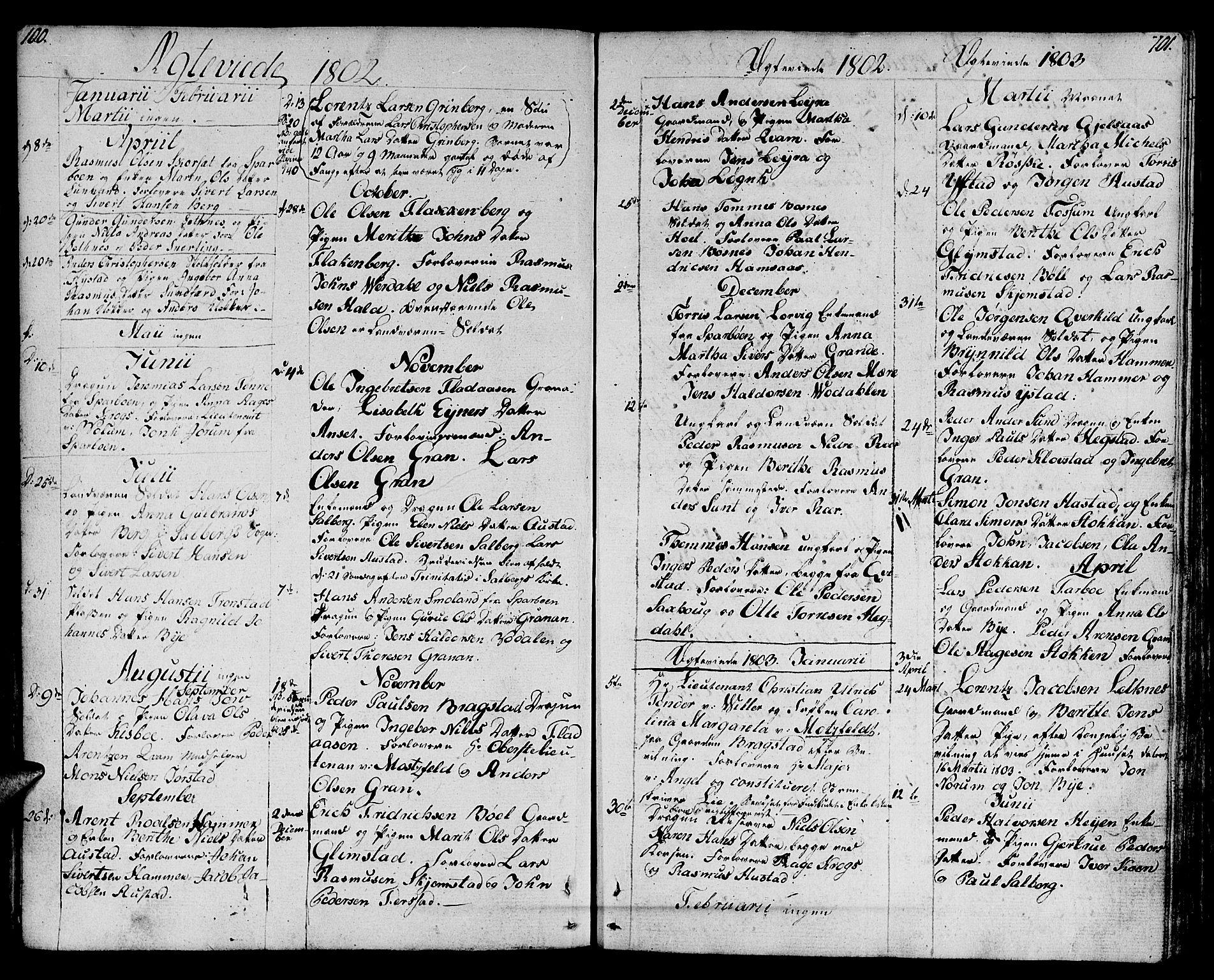SAT, Ministerialprotokoller, klokkerbøker og fødselsregistre - Nord-Trøndelag, 730/L0274: Ministerialbok nr. 730A03, 1802-1816, s. 100-101