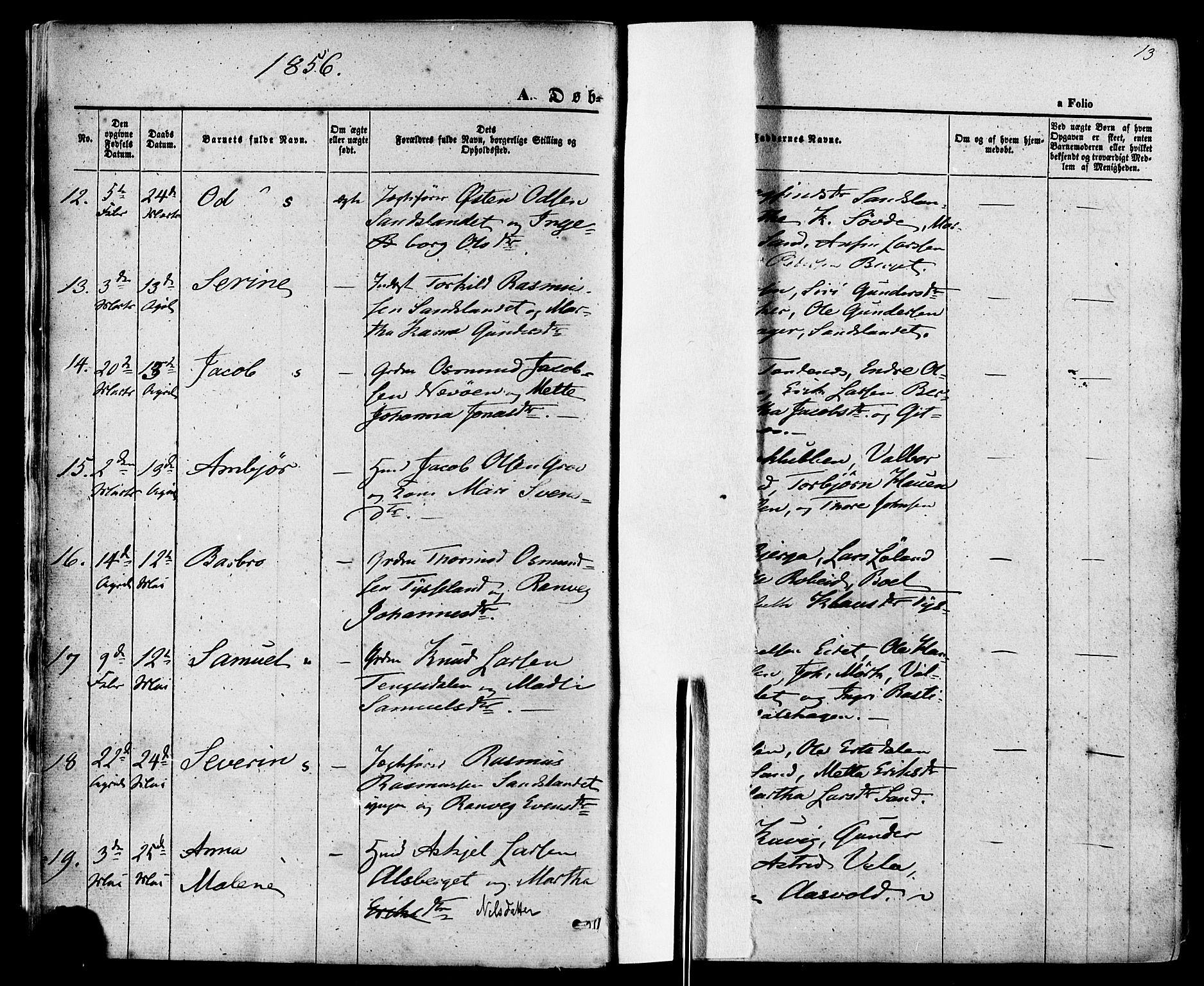 SAST, Sand sokneprestkontor, III/L0003: Ministerialbok nr. A 3, 1854-1879, s. 13