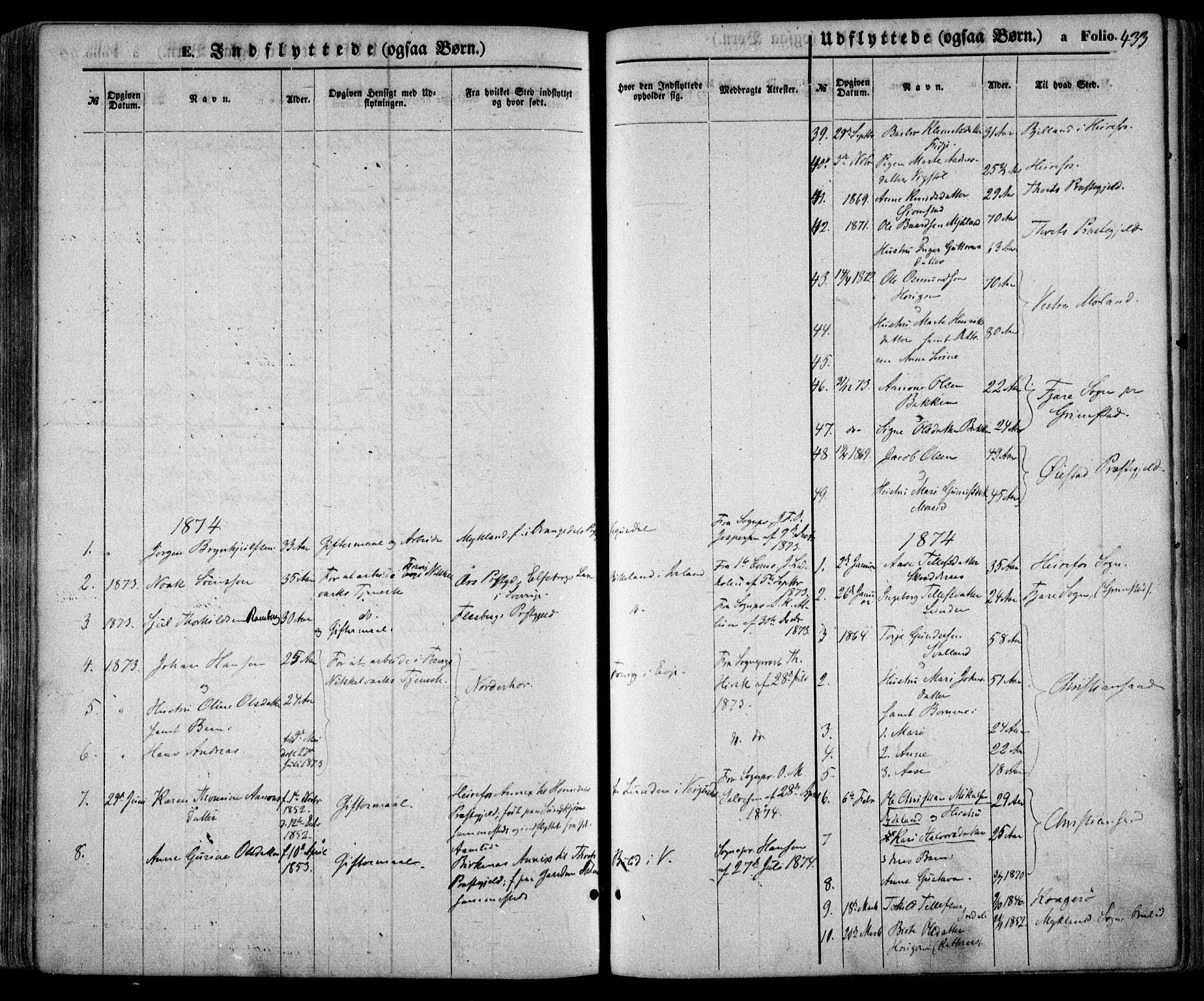 SAK, Evje sokneprestkontor, F/Fa/Faa/L0006: Ministerialbok nr. A 6, 1866-1884, s. 433