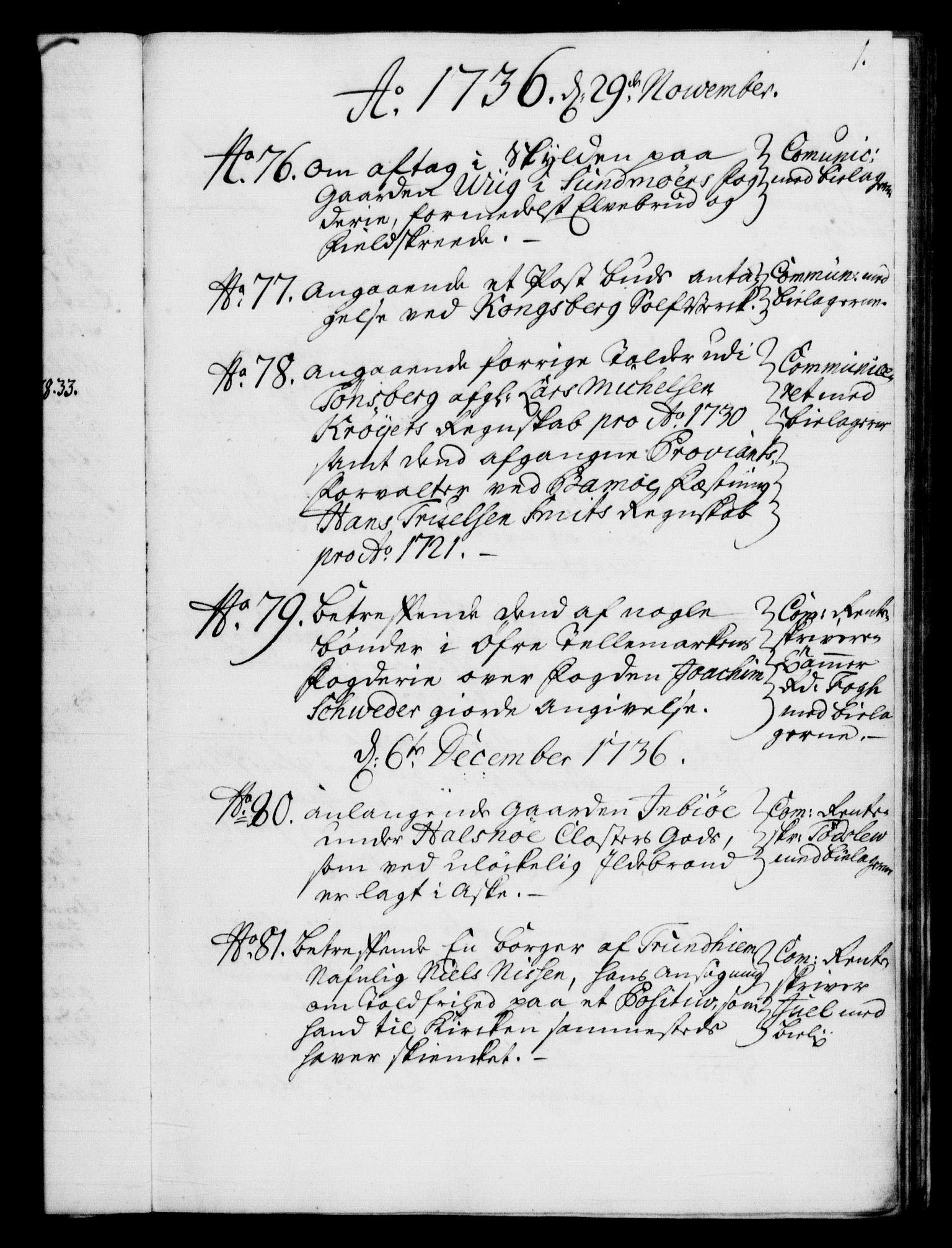 RA, Rentekammeret, Kammerkanselliet, G/Gf/Gfb/L0004: Register til norske relasjons- og resolusjonsprotokoller (merket RK 52.99), 1736-1743, s. 1