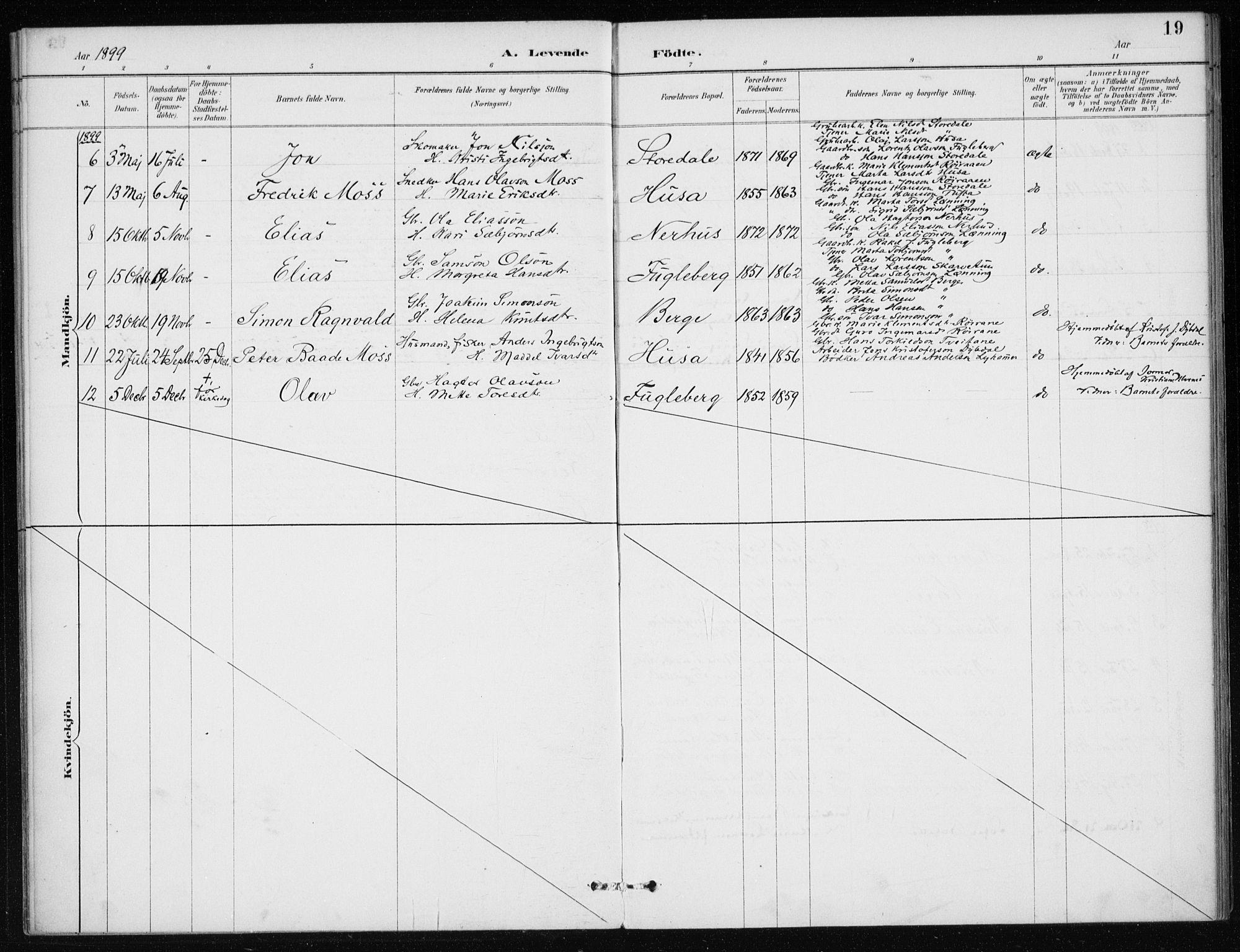 SAB, Kvinnherad Sokneprestembete, H/Haa: Ministerialbok nr. E 1, 1887-1912, s. 19