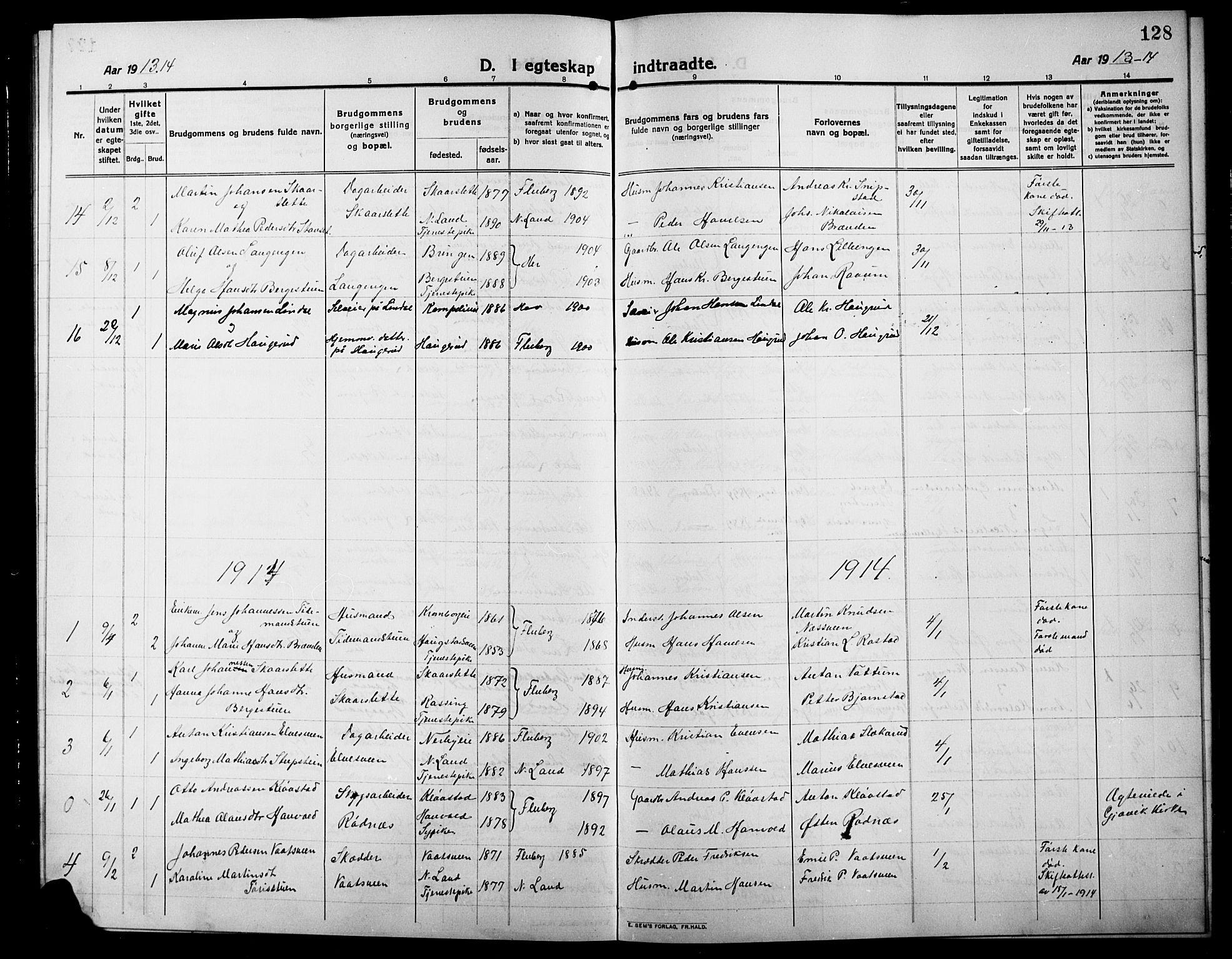 SAH, Søndre Land prestekontor, L/L0006: Klokkerbok nr. 6, 1912-1925, s. 128